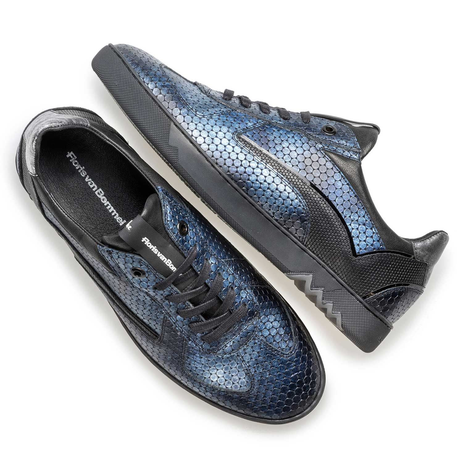 16242/11 - Blue metallic print leather sneaker