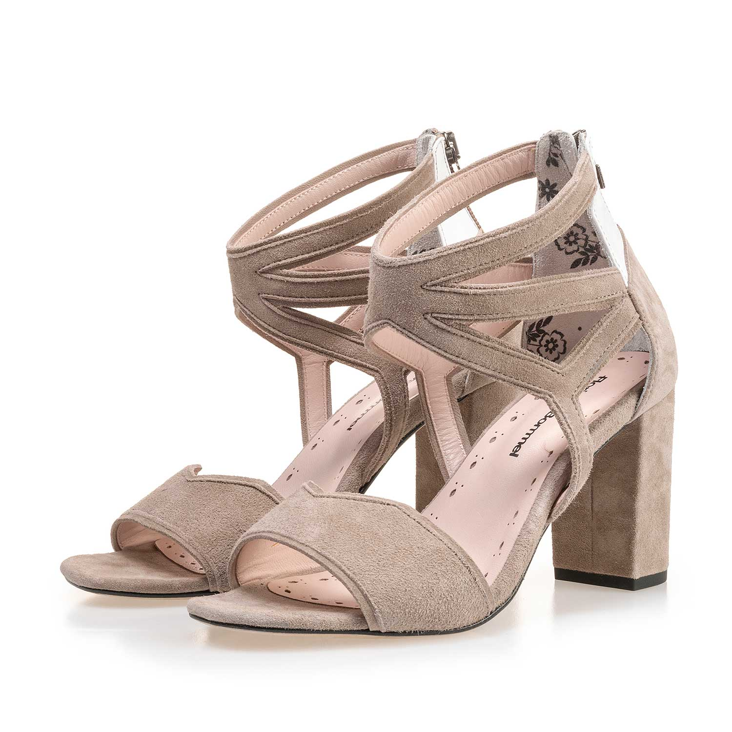 85221/01 - Taupe-coloured calf's suede leather heeled sandal