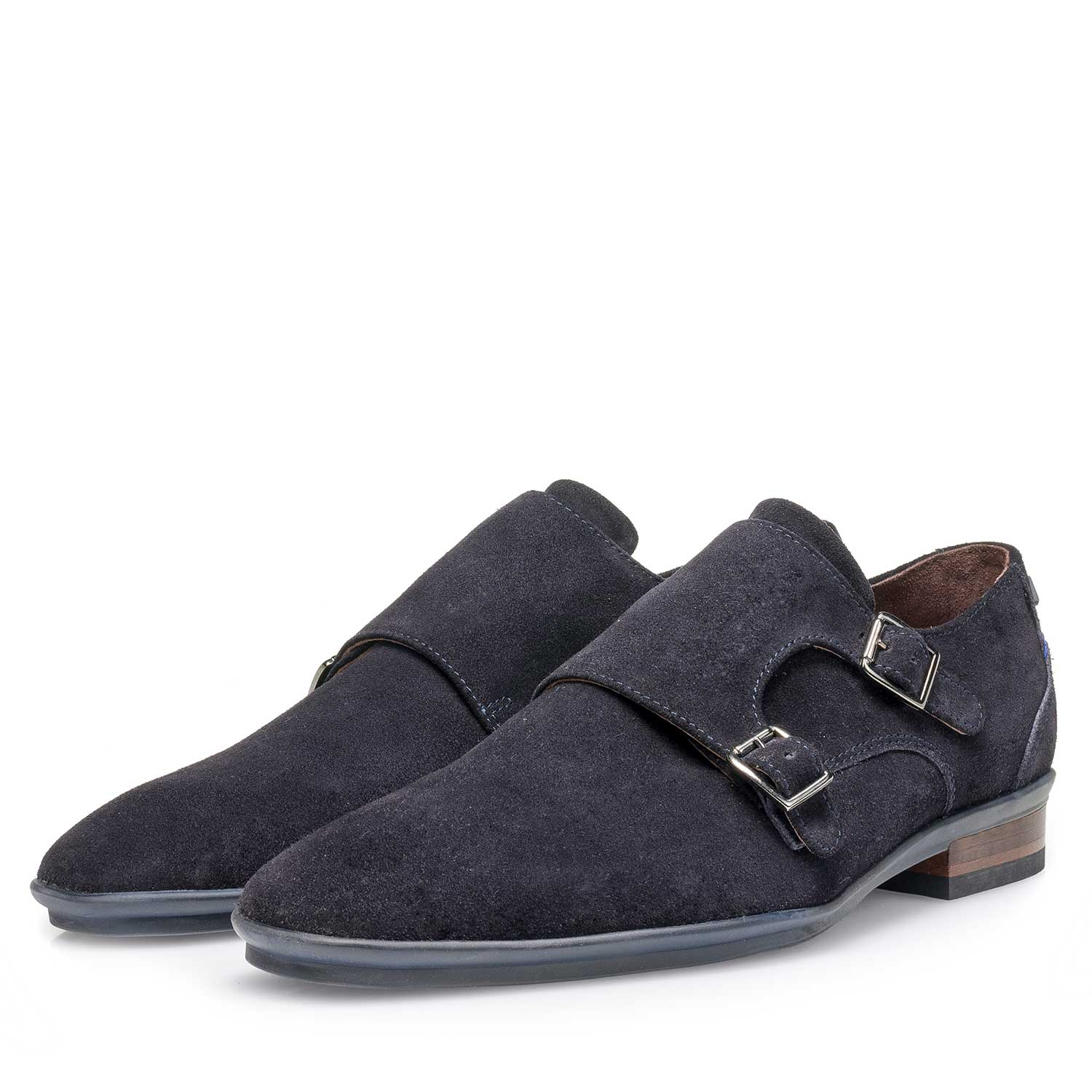 12132/14 - Blue calf suede leather double buckle monk strap
