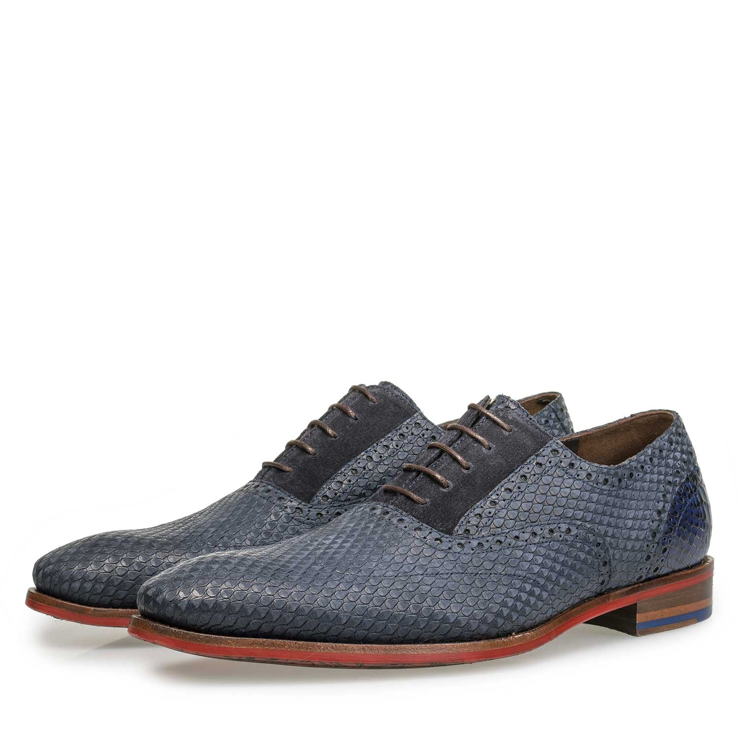 19119/01 - Blue nubuck leather lace shoe with snake print