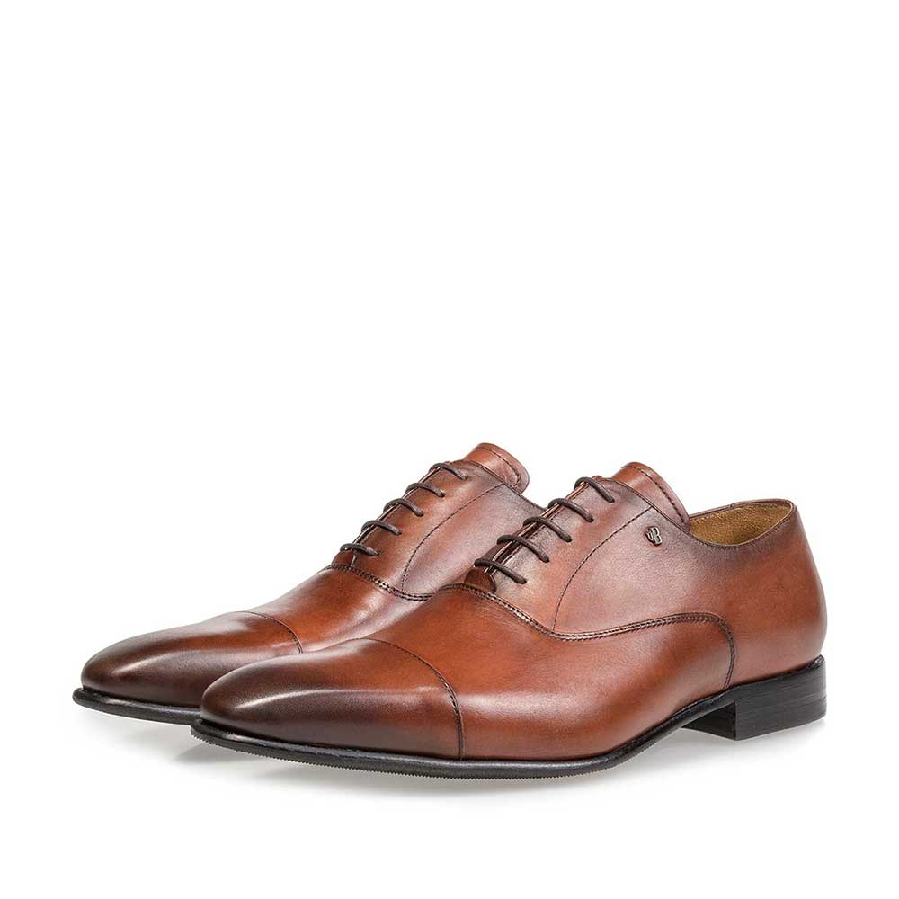 16395/00 - Cognac-coloured calf leather lace shoe