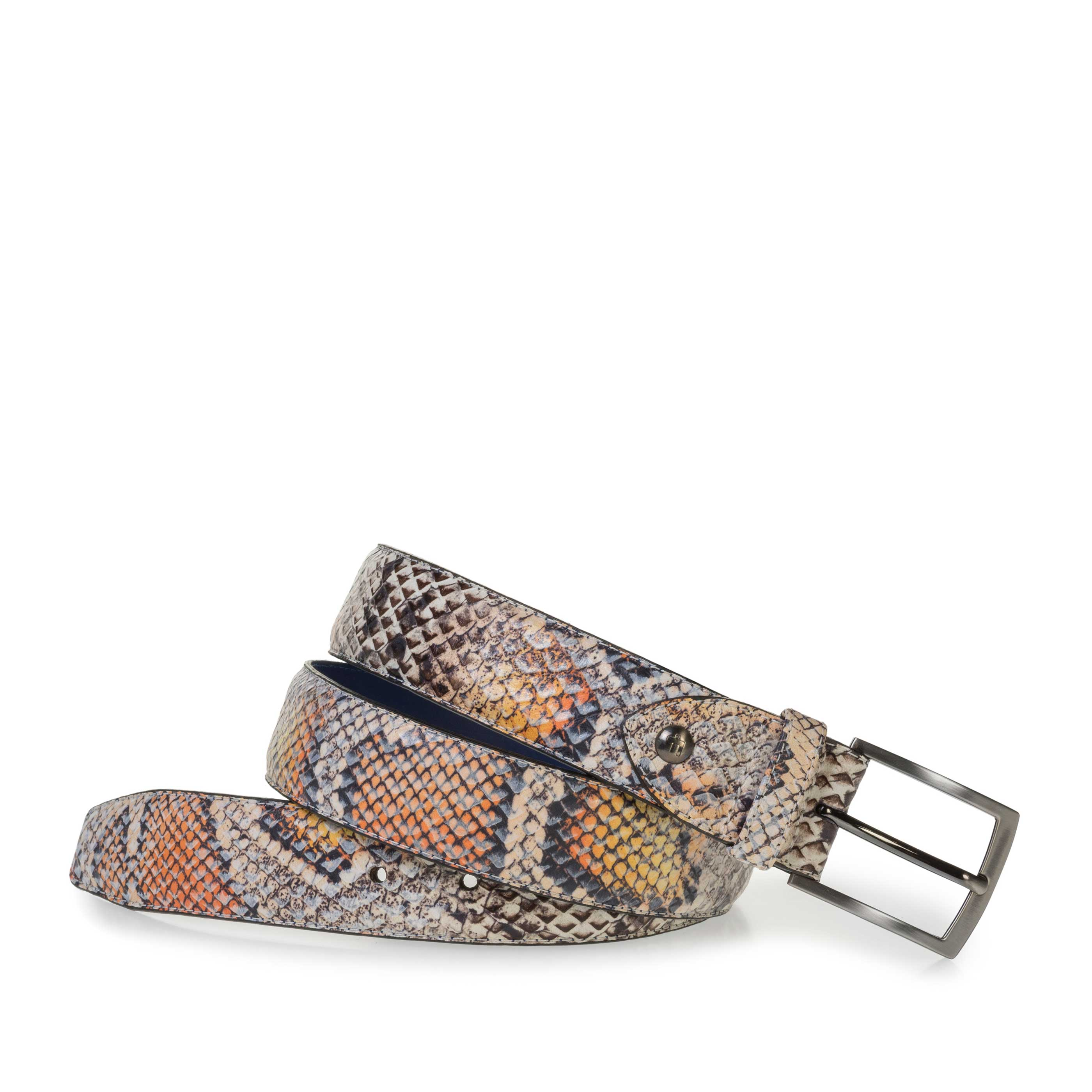 75201/67 - Premium belt with orange snake print
