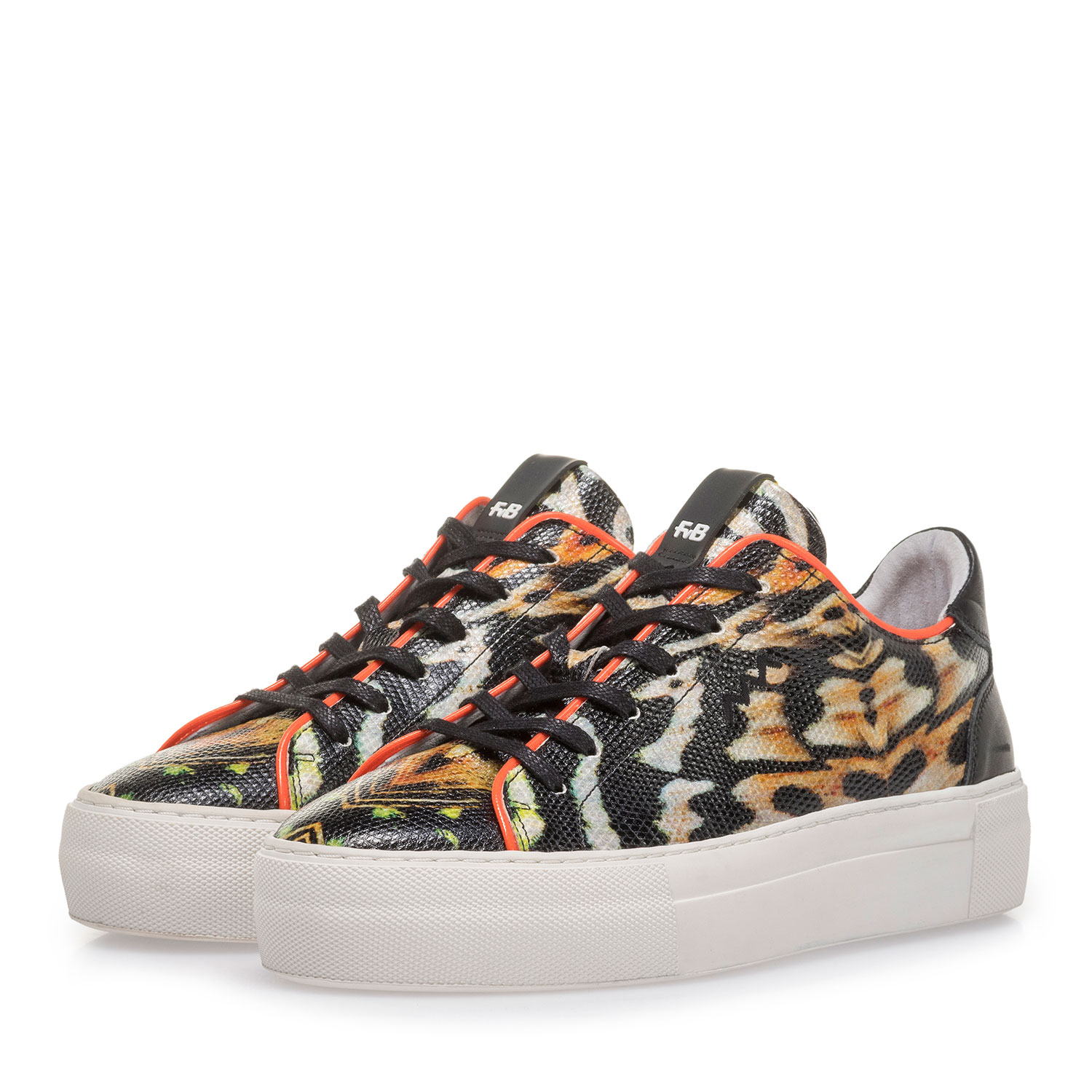 85297/05 - Black leather sneaker with orange-coloured print