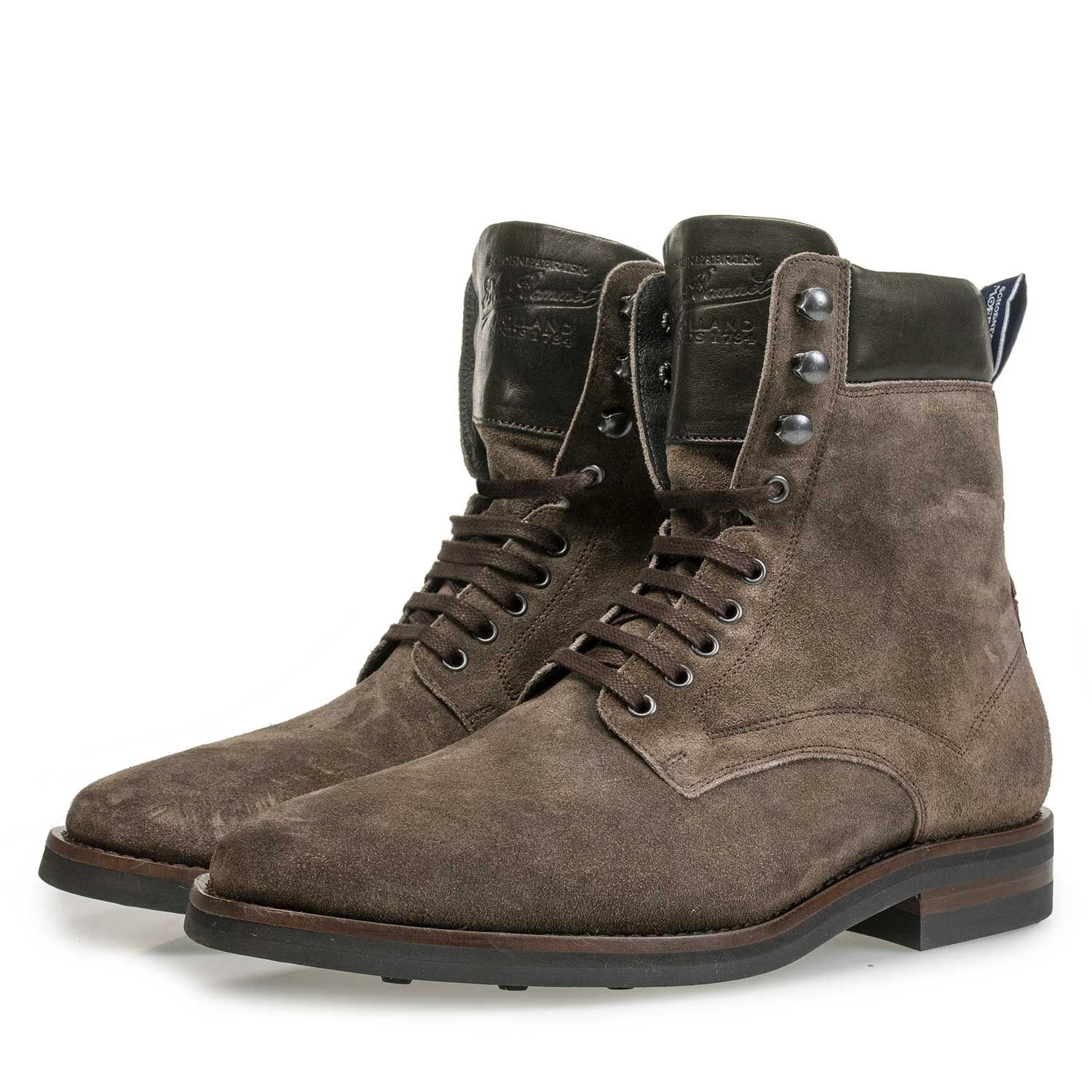 10658/05 - Lace boots washed suede leather taupe