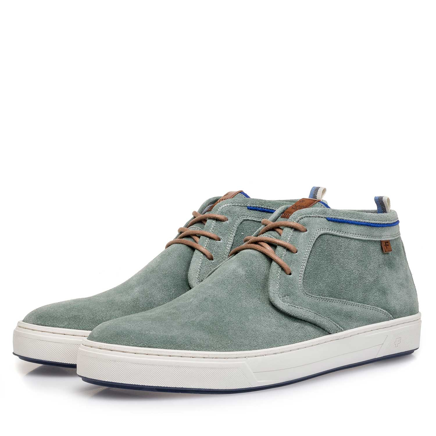 10466/03 - Pale green washed suede leather lace shoe