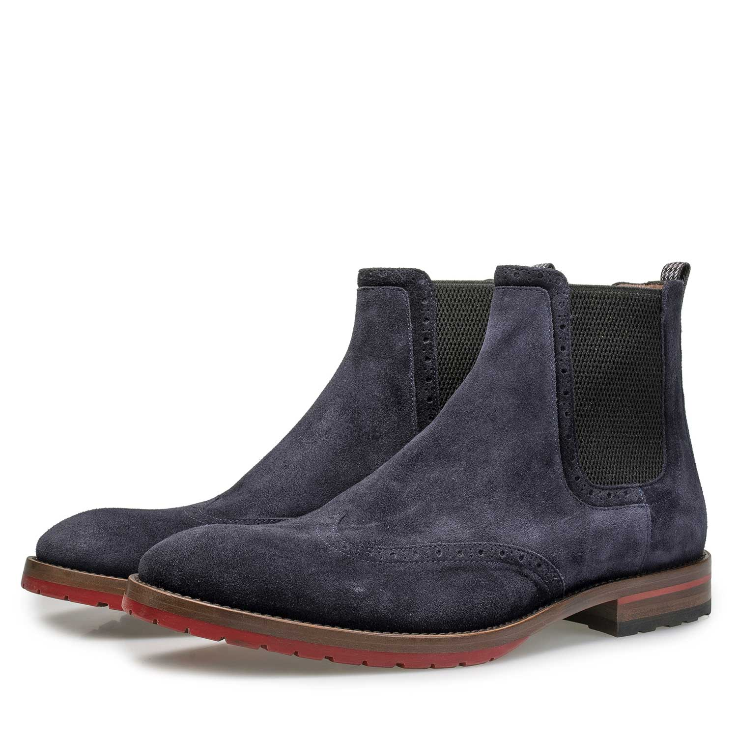 10329/07 - Blue suede leather Chelsea boot