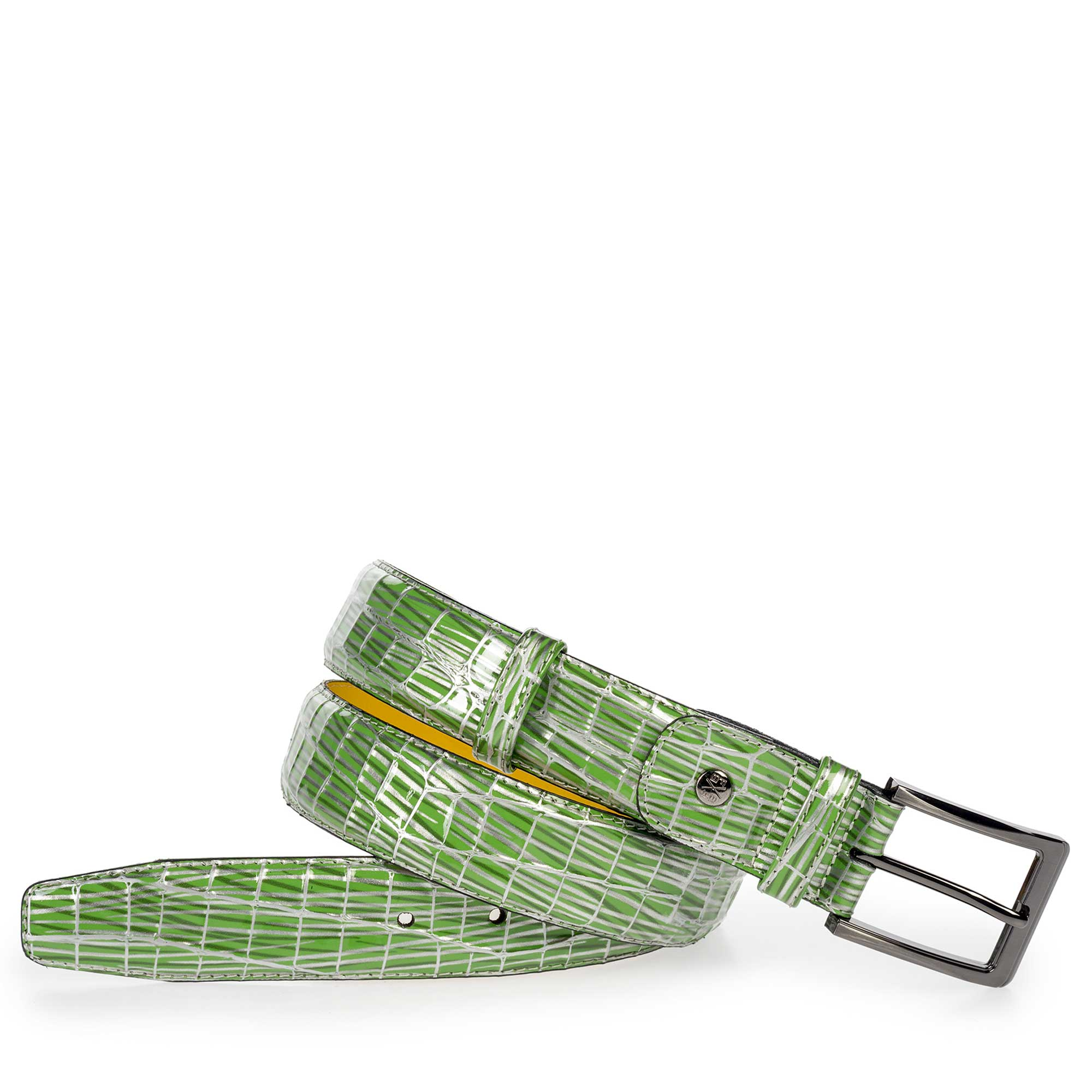 75182/04 - Green patent leather belt with print