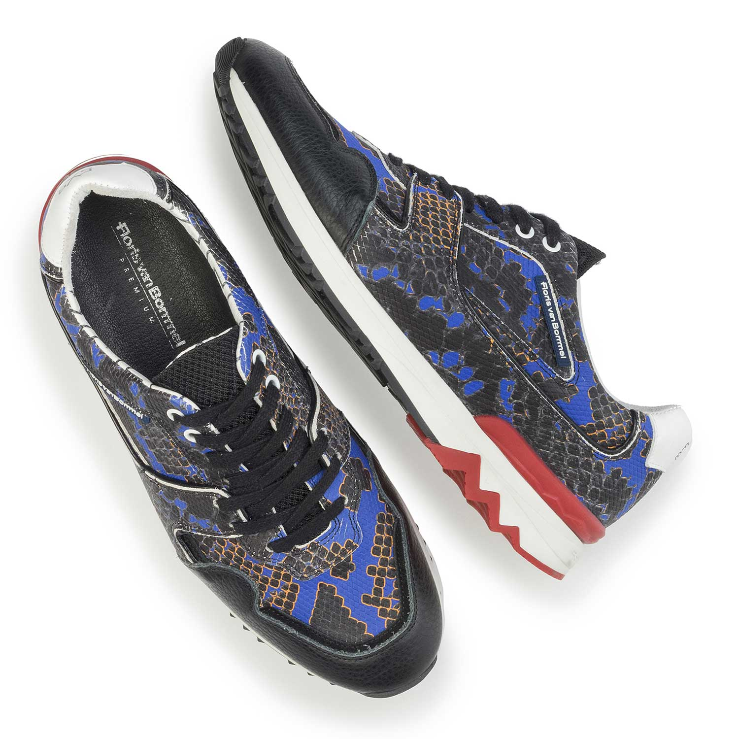 16270/01 - Blue leather sneaker with a snake print