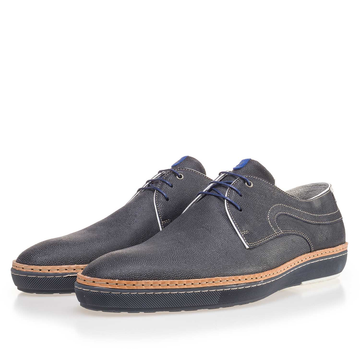 14020/00 - Blue patterned lace shoe made of suede leather