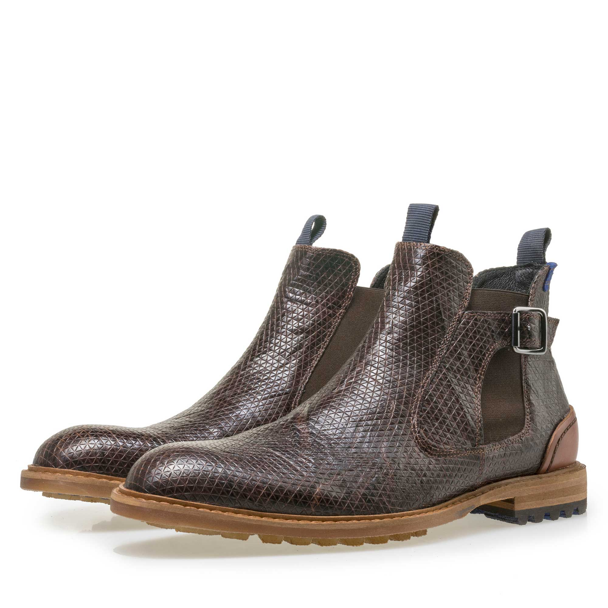 10912/06 - Floris van Bommel men's brown leather Chelsea boot finished with a snake print