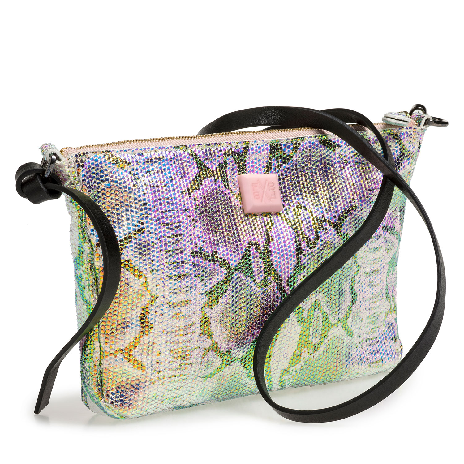 89019/06 - Leather bag with green/gold metallic print