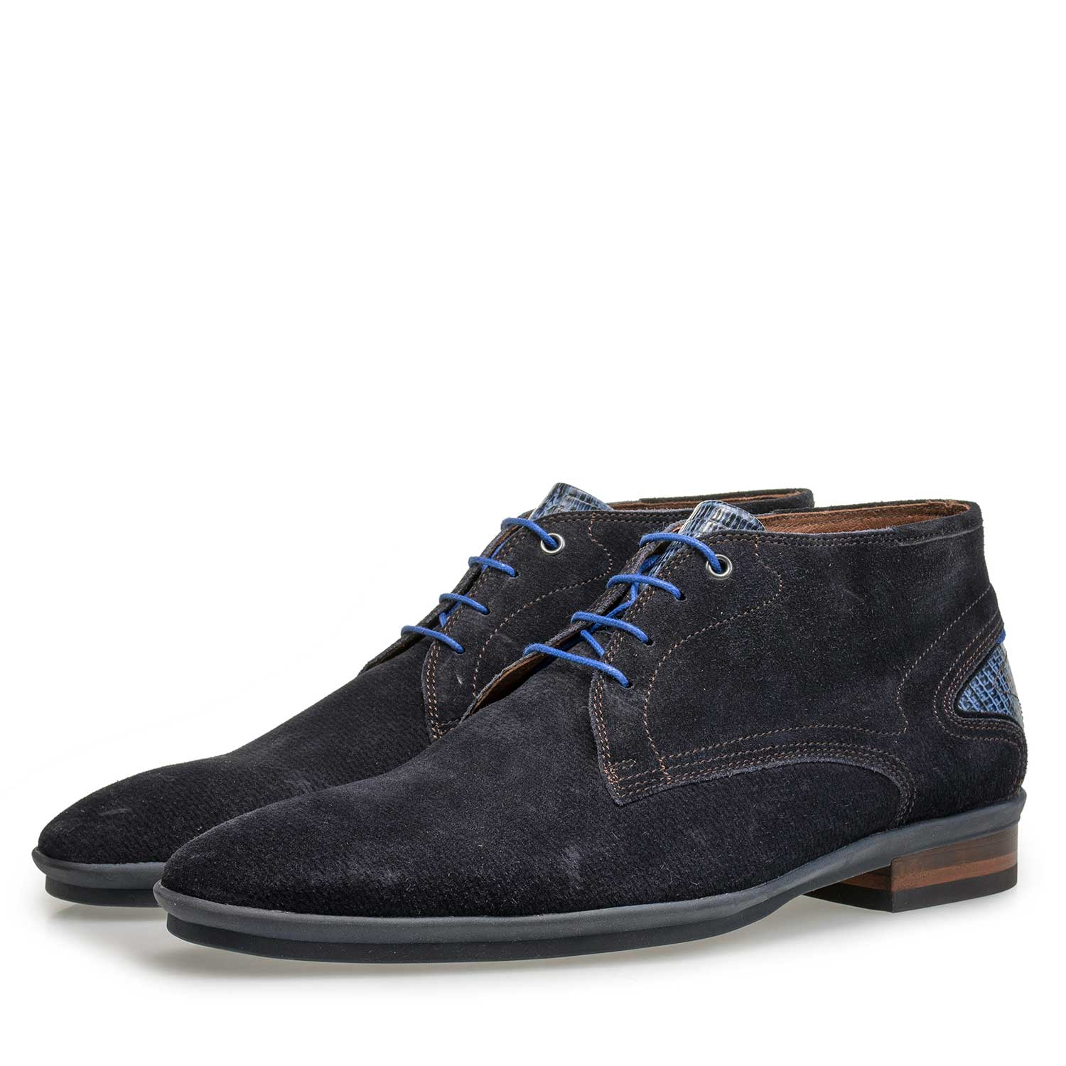 10131/07 - Blue patterned calf suede leather lace boot