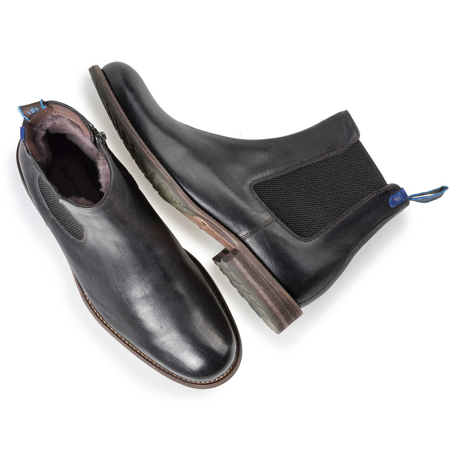 10289/01 - Black wool lined leather Chelsea boot