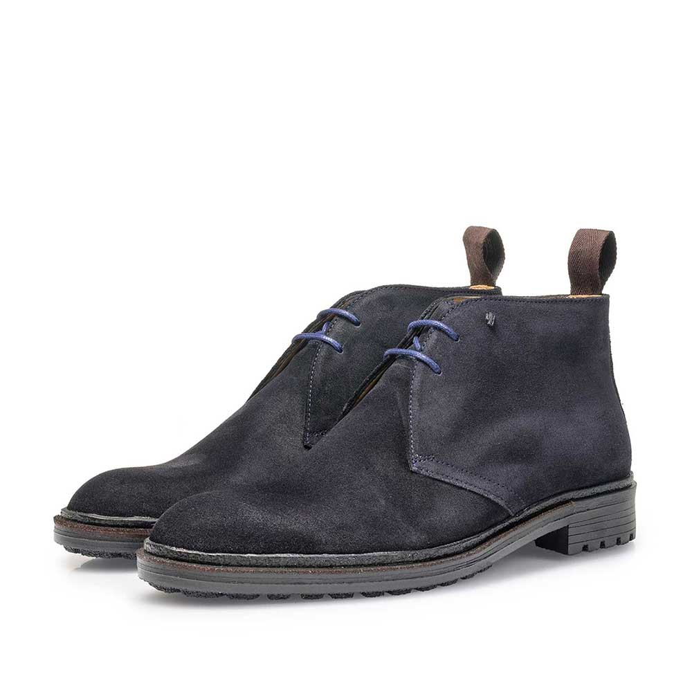 10354/01 - Dark blue suede leather lace boot