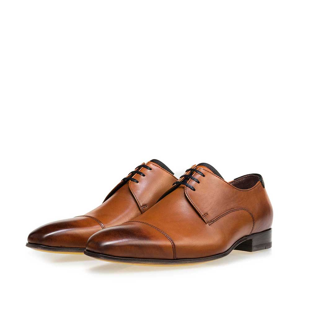 14192/00 - Cognac-coloured calf's leather lace shoe