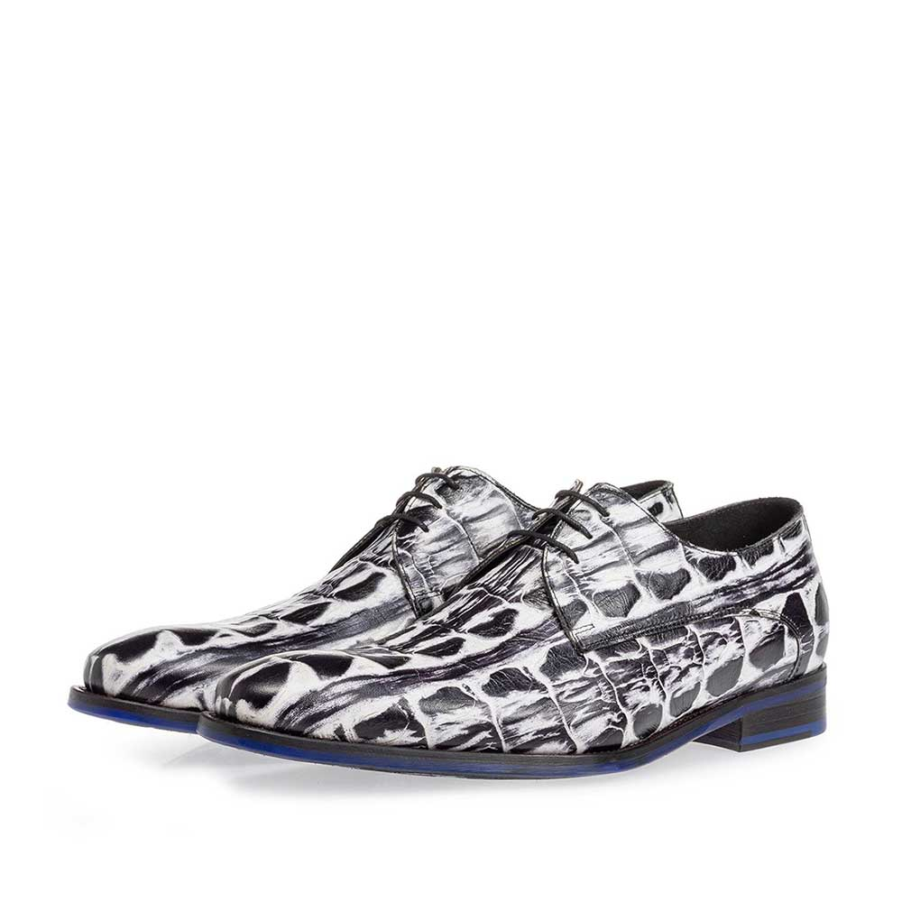 18204/05 - Lace shoe black and white croco print