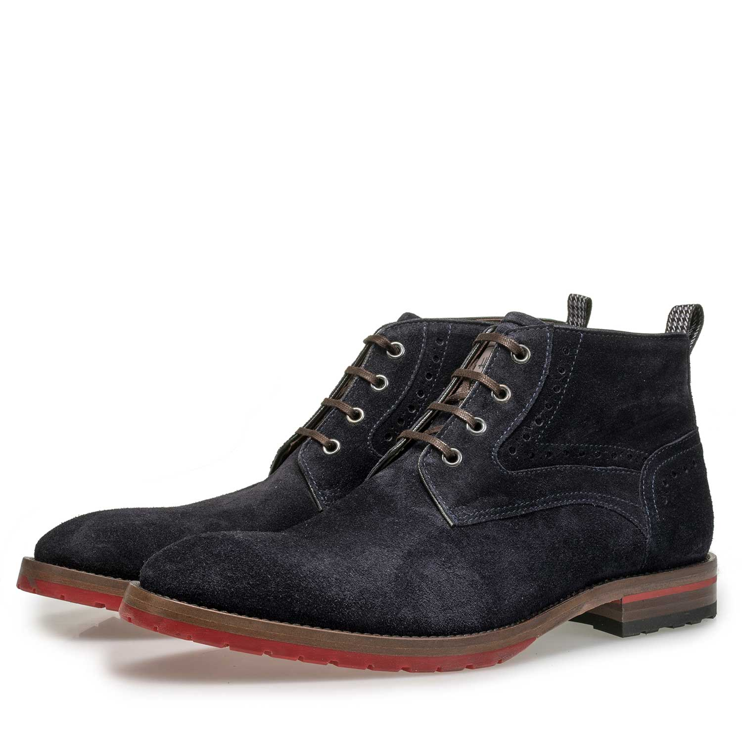 10317/07 - Blue suede leather lace boot with brogue details