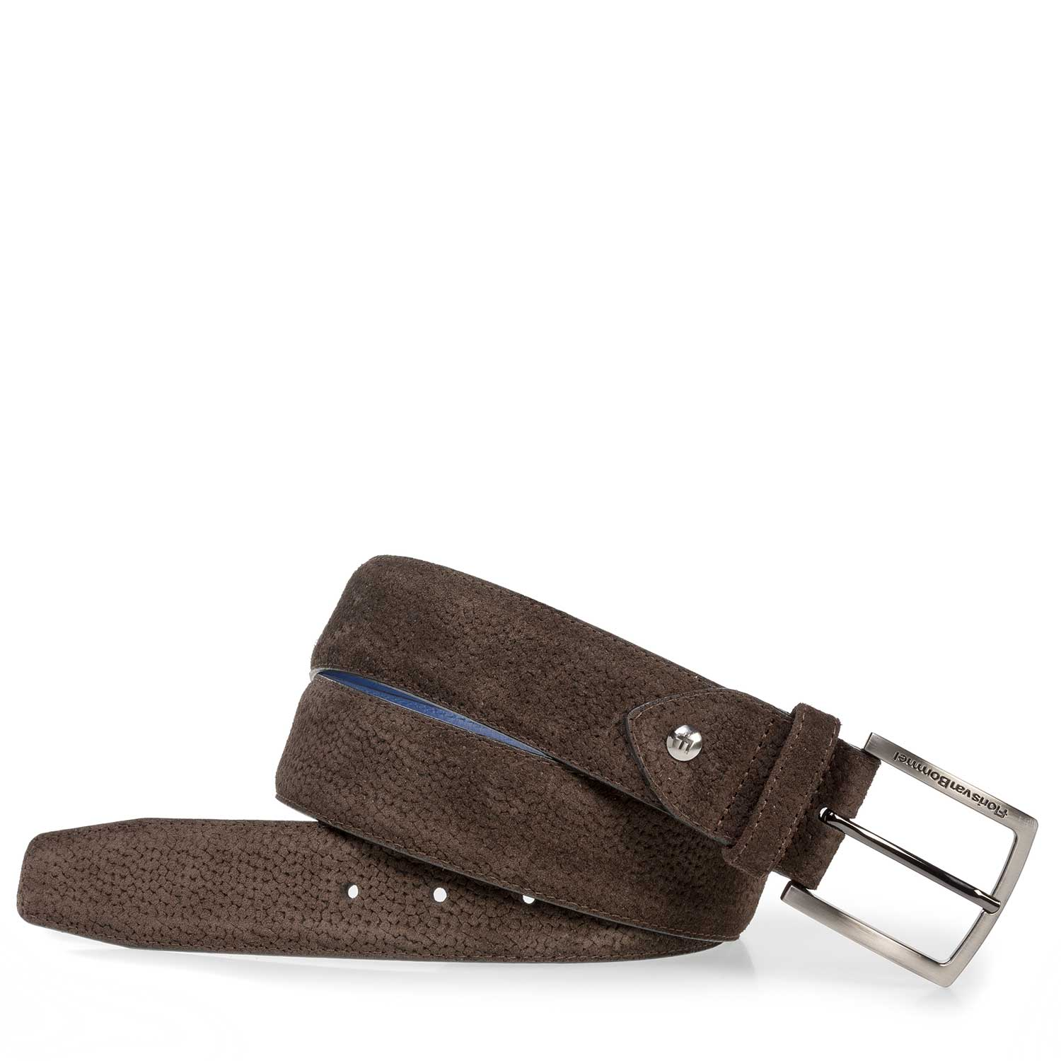 75202/22 - Dark brown suede leather belt with print