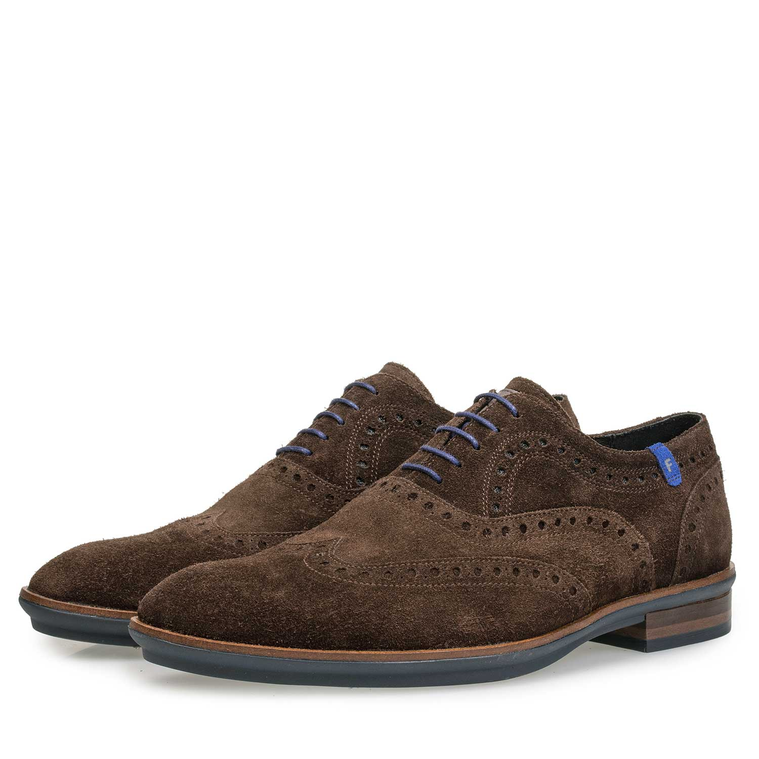 19048/05 - Brown brogue suede leather lace shoe