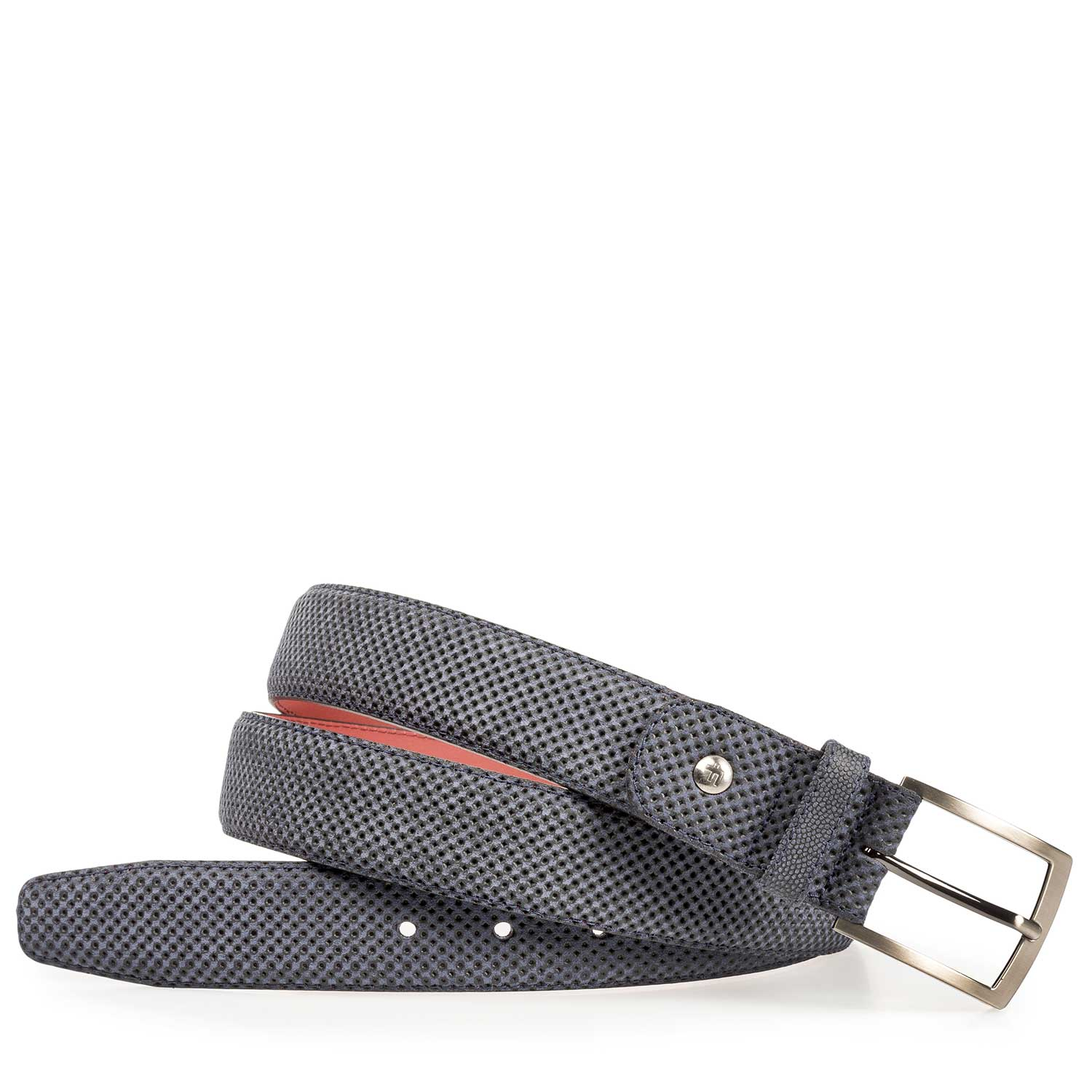 75188/23 - Blue suede leather belt with a print