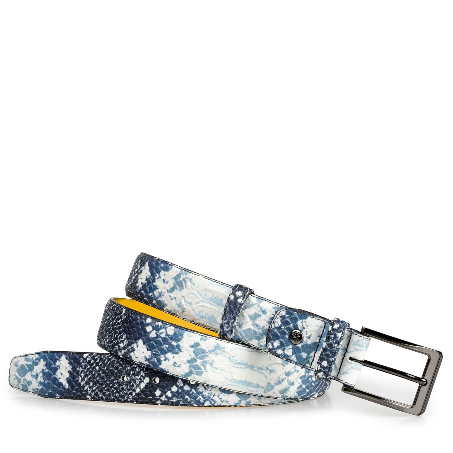 75182/03 - Dark blue leather belt with a snake pattern