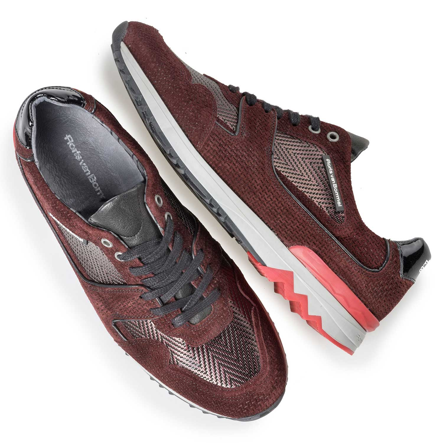 16220/16 - Burgundy red leather sneaker with metallic print