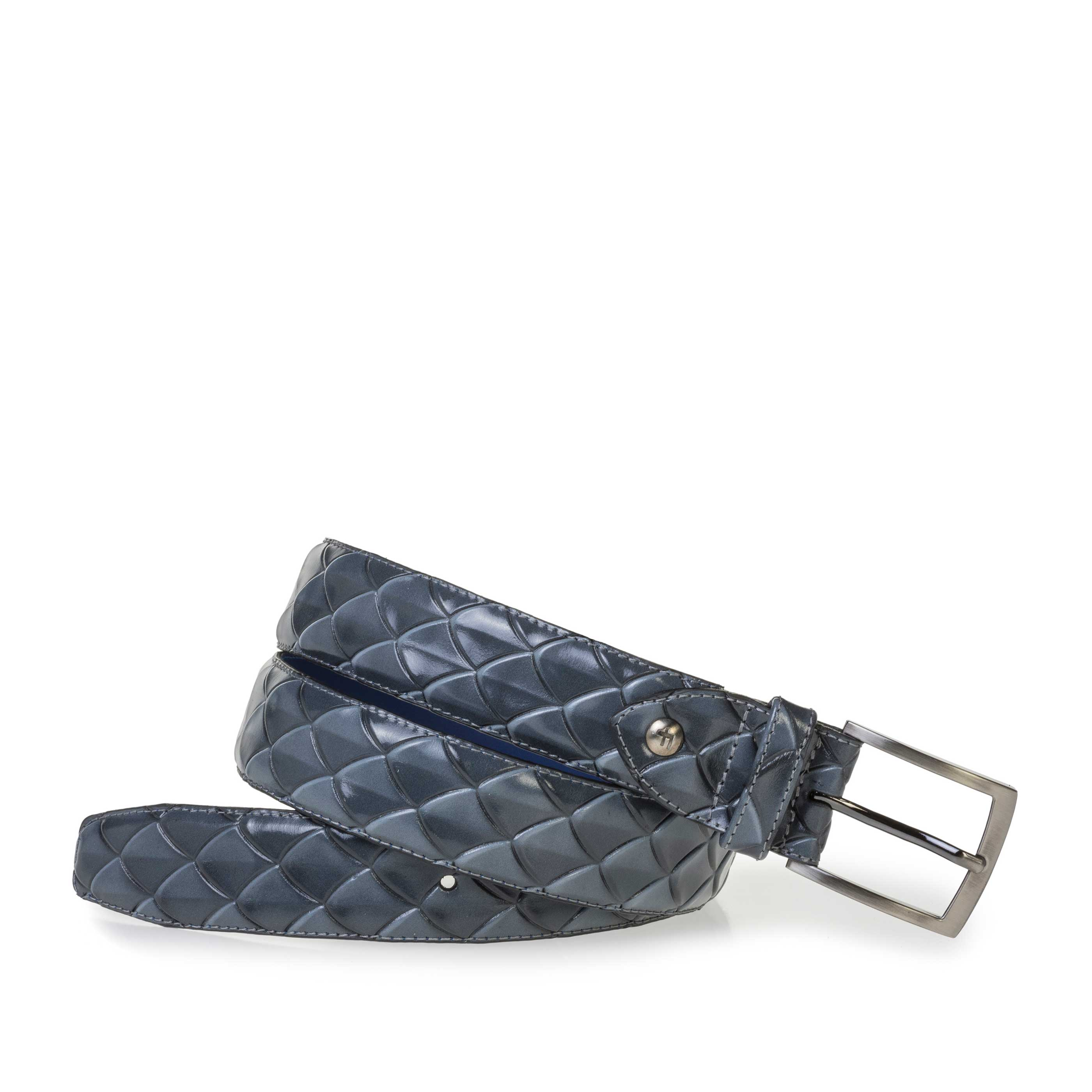 75201/64 - Premium grey leather belt with print