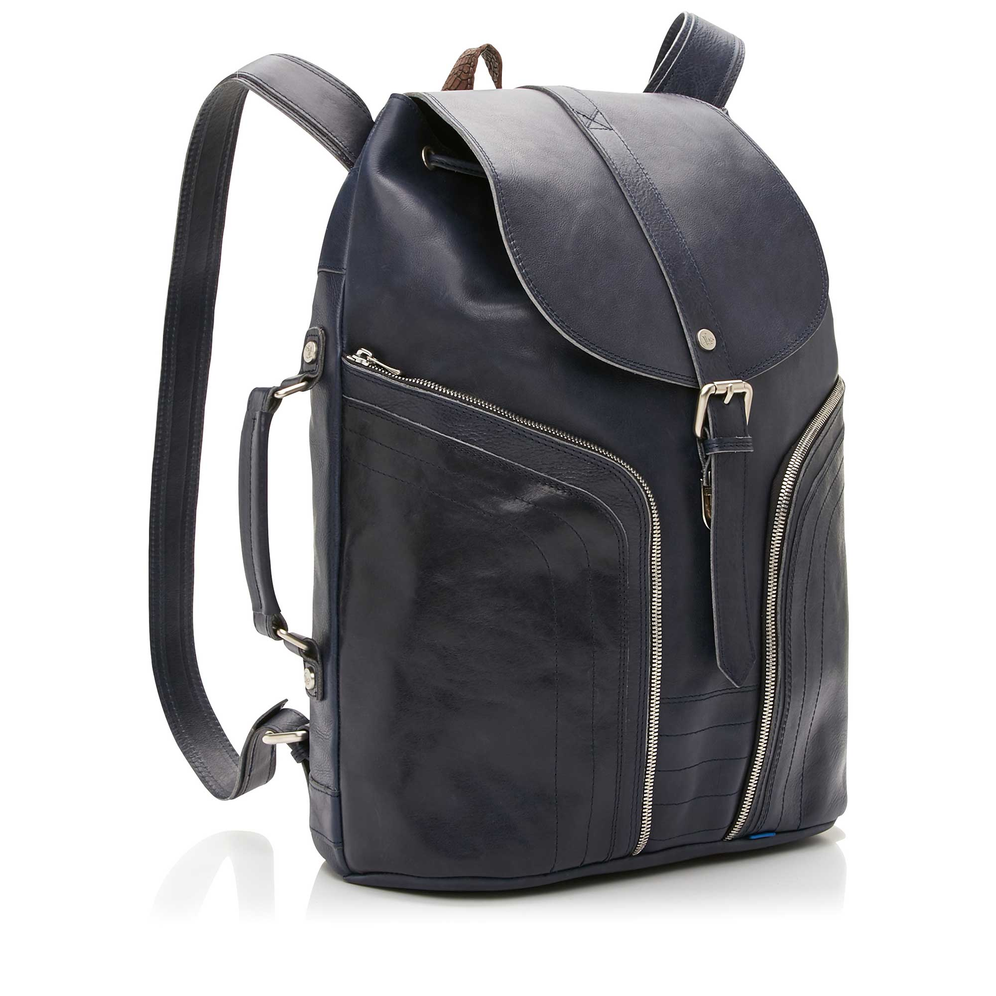 53020/00 - Floris van Bommel blue leather backpack