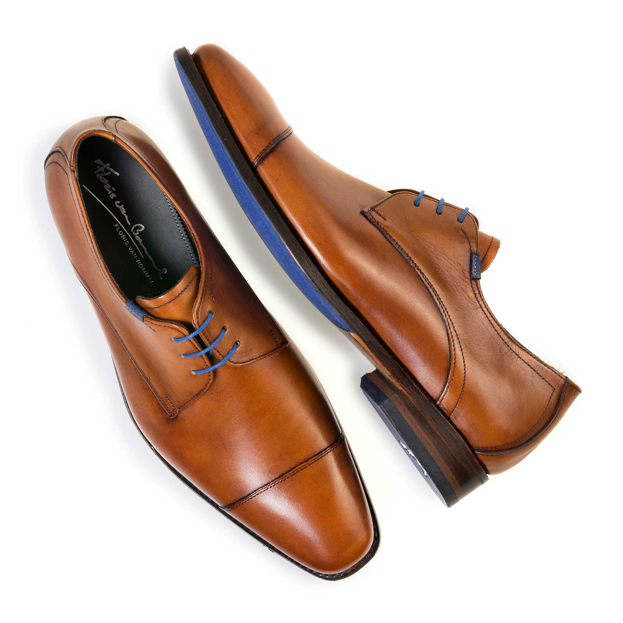 14370/00 - Cognac-coloured calf's leather lace shoe