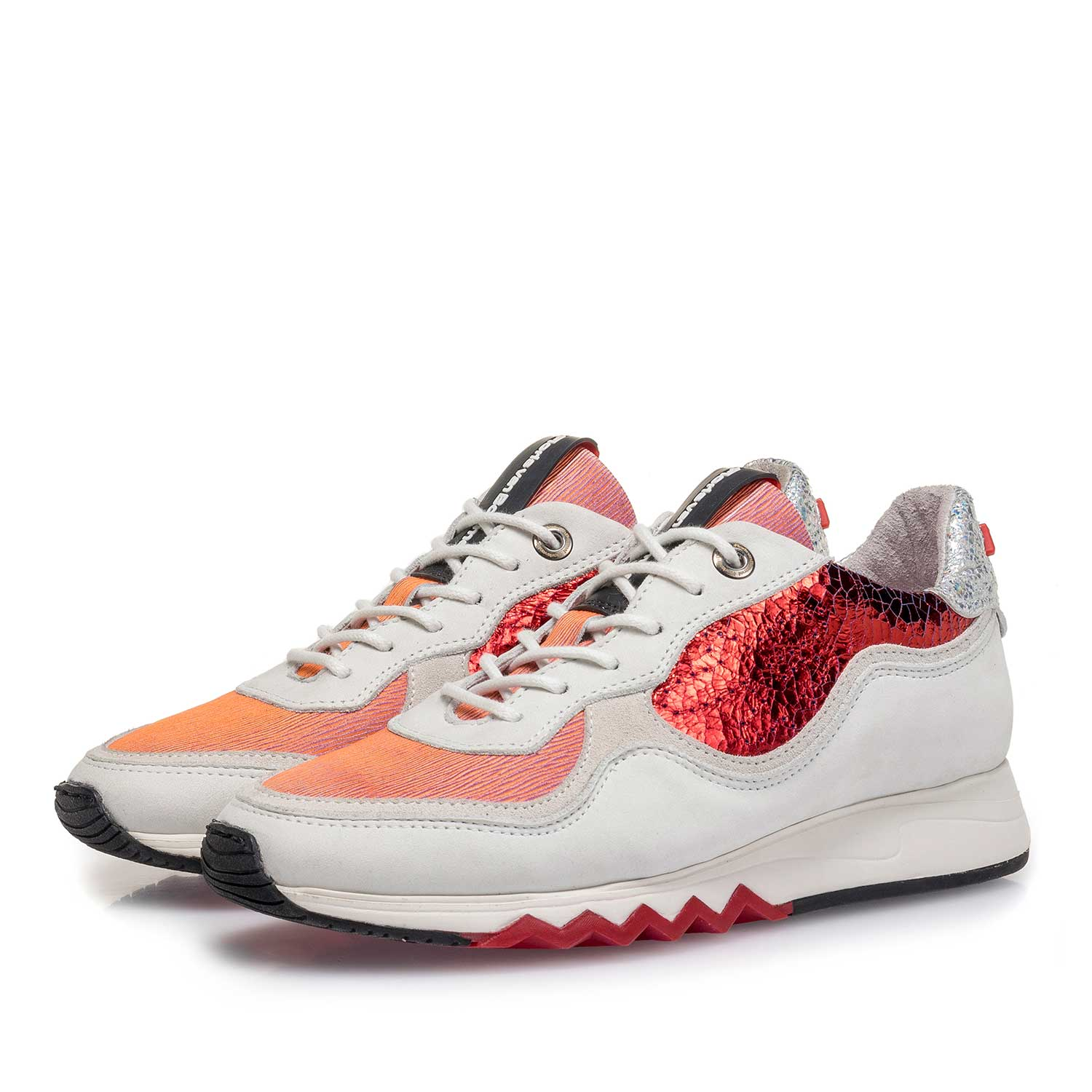 85265/08 - White nubuck leather sneaker with red details