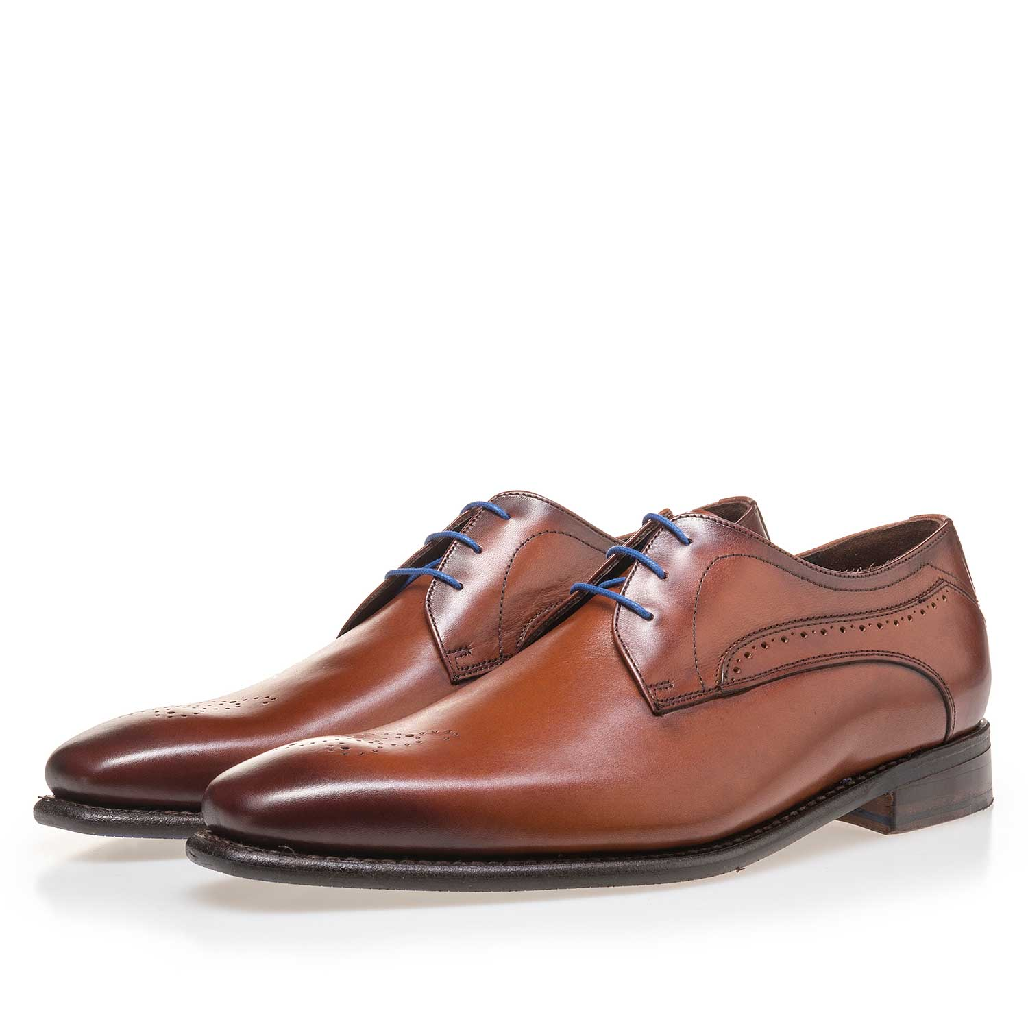 14182/03 - Cognac-coloured leather lace shoe