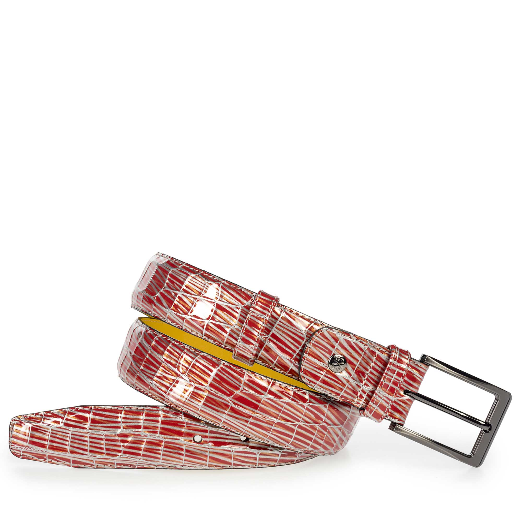 75182/07 - Red patent leather belt with print