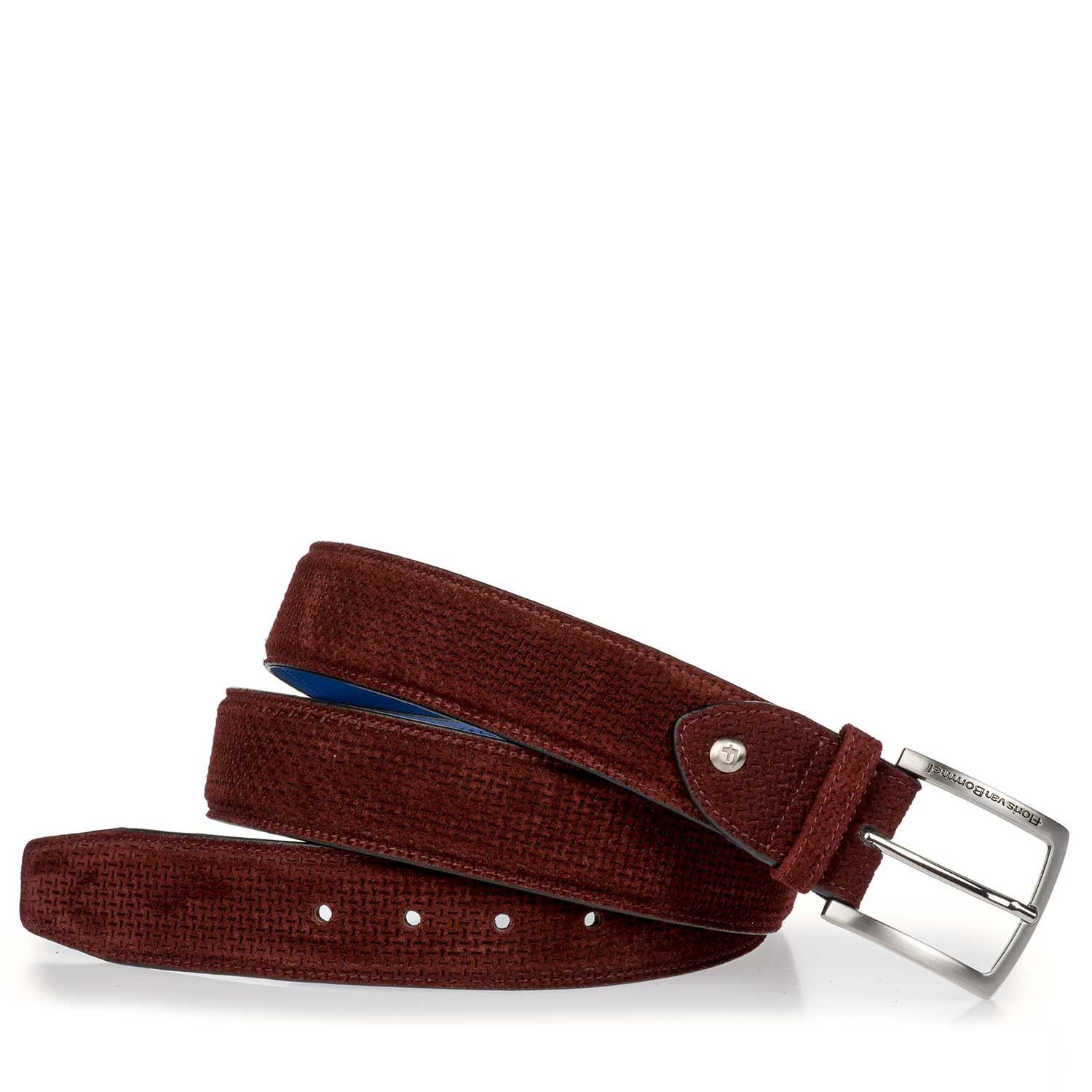 75189/20 - Burgundy red belt made of calf's suede leather