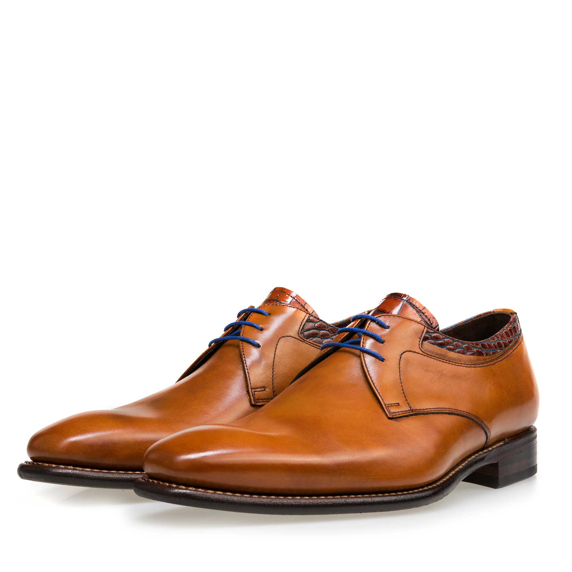 14302/00 - Floris van Bommel cognac leather men's lace-up shoe