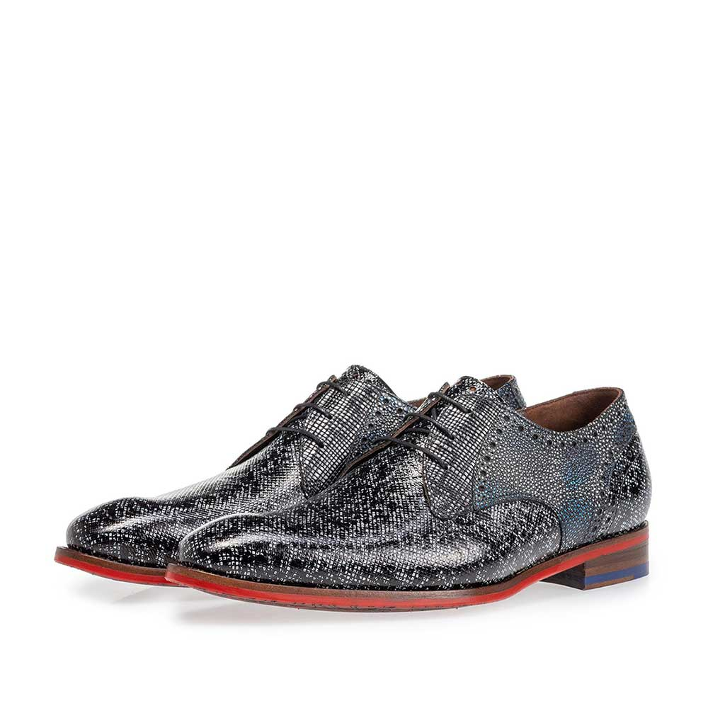18107/22 - Lace shoe black and grey metallic