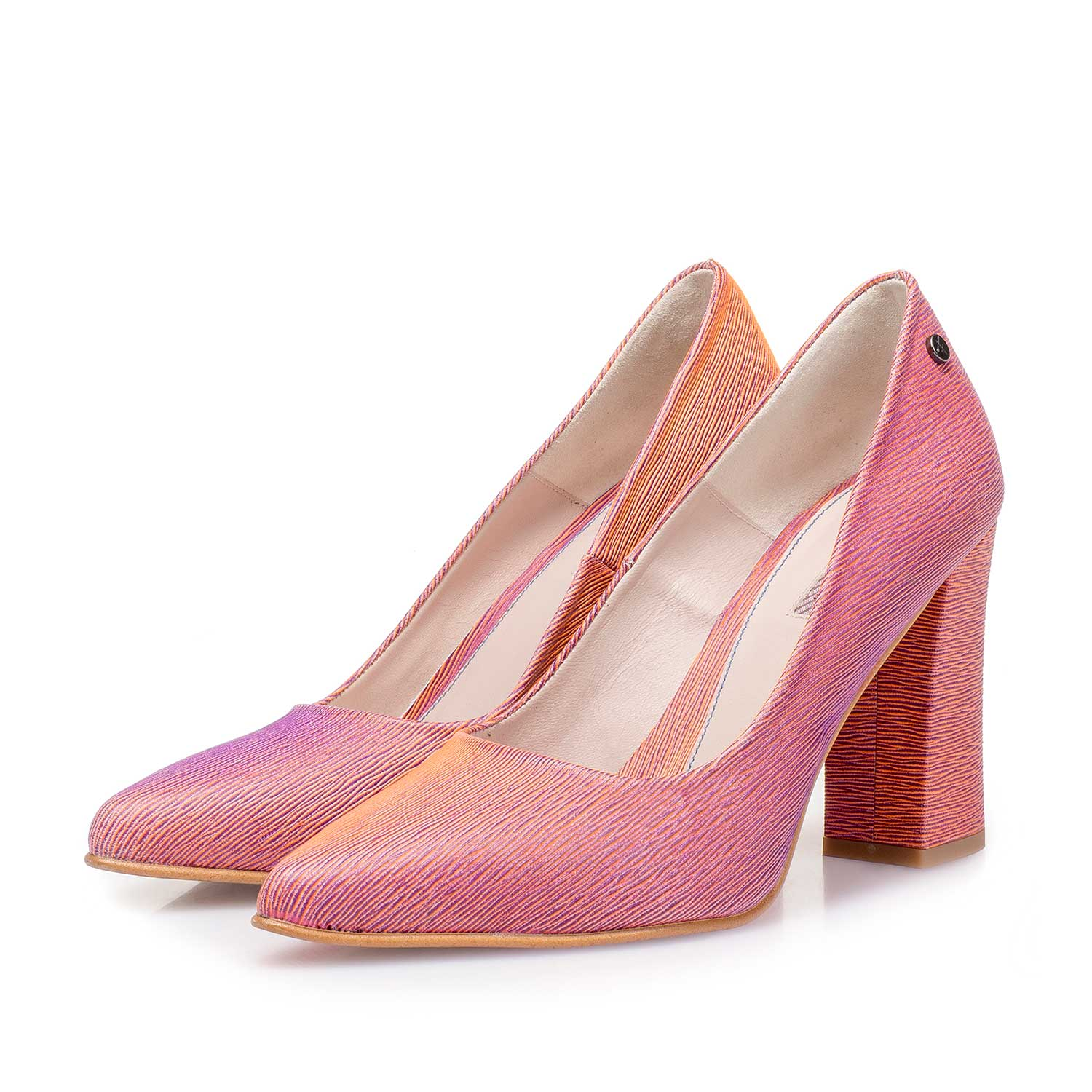 85519/08 - Coral red leather pumps with changing effect