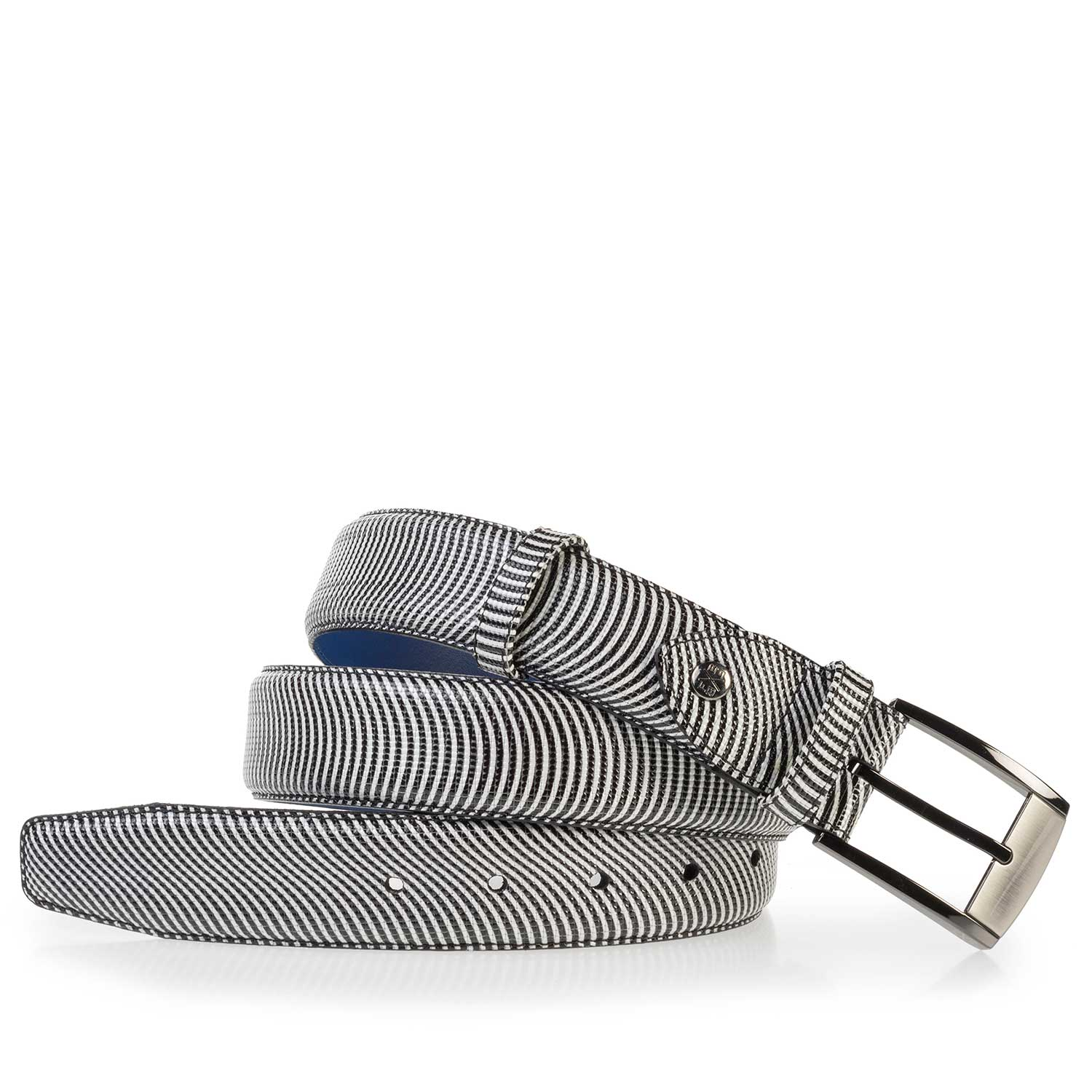 75180/00 - Patterned black-white patent leather belt