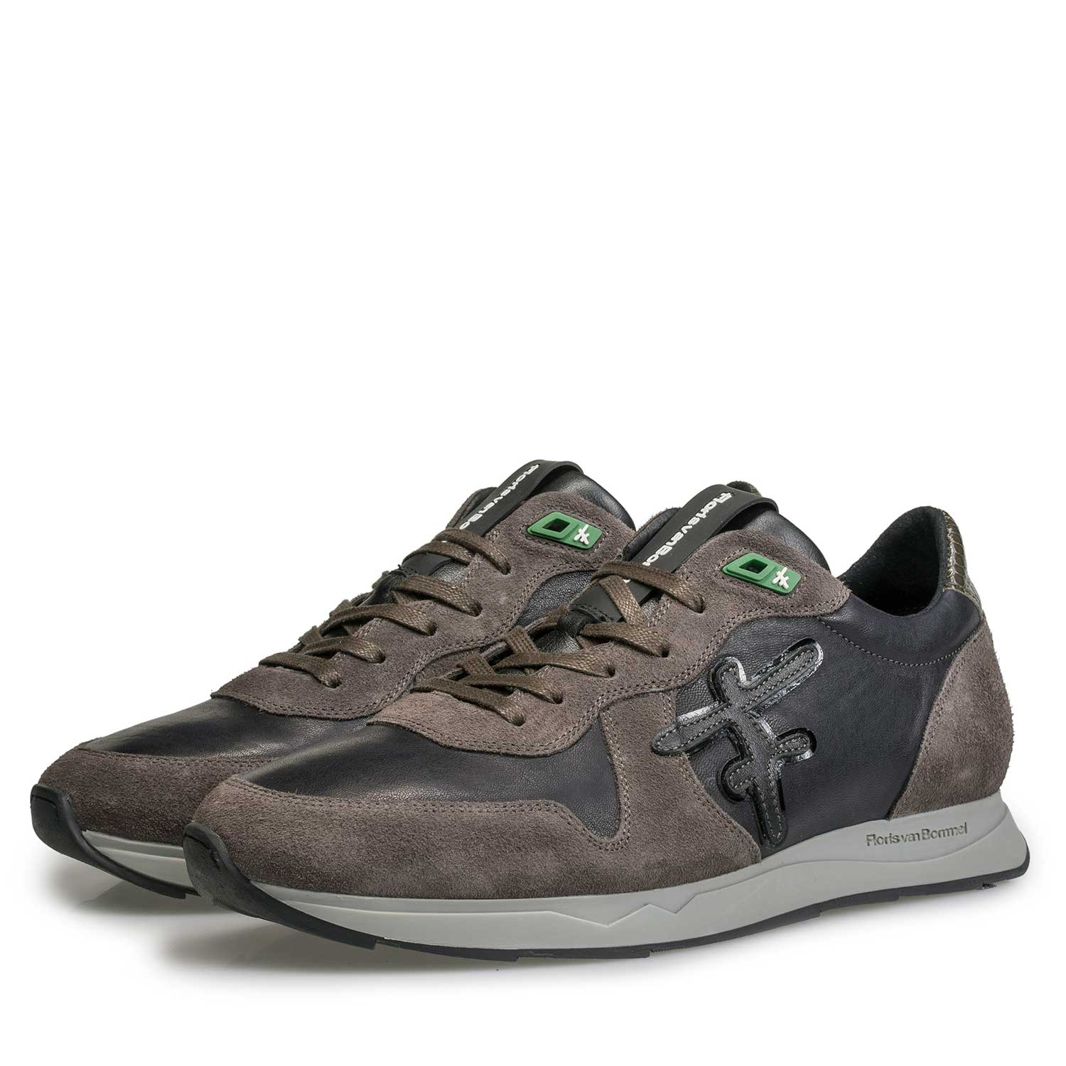 16226/05 - Blue / Grey-brown leather sneaker with F-logo