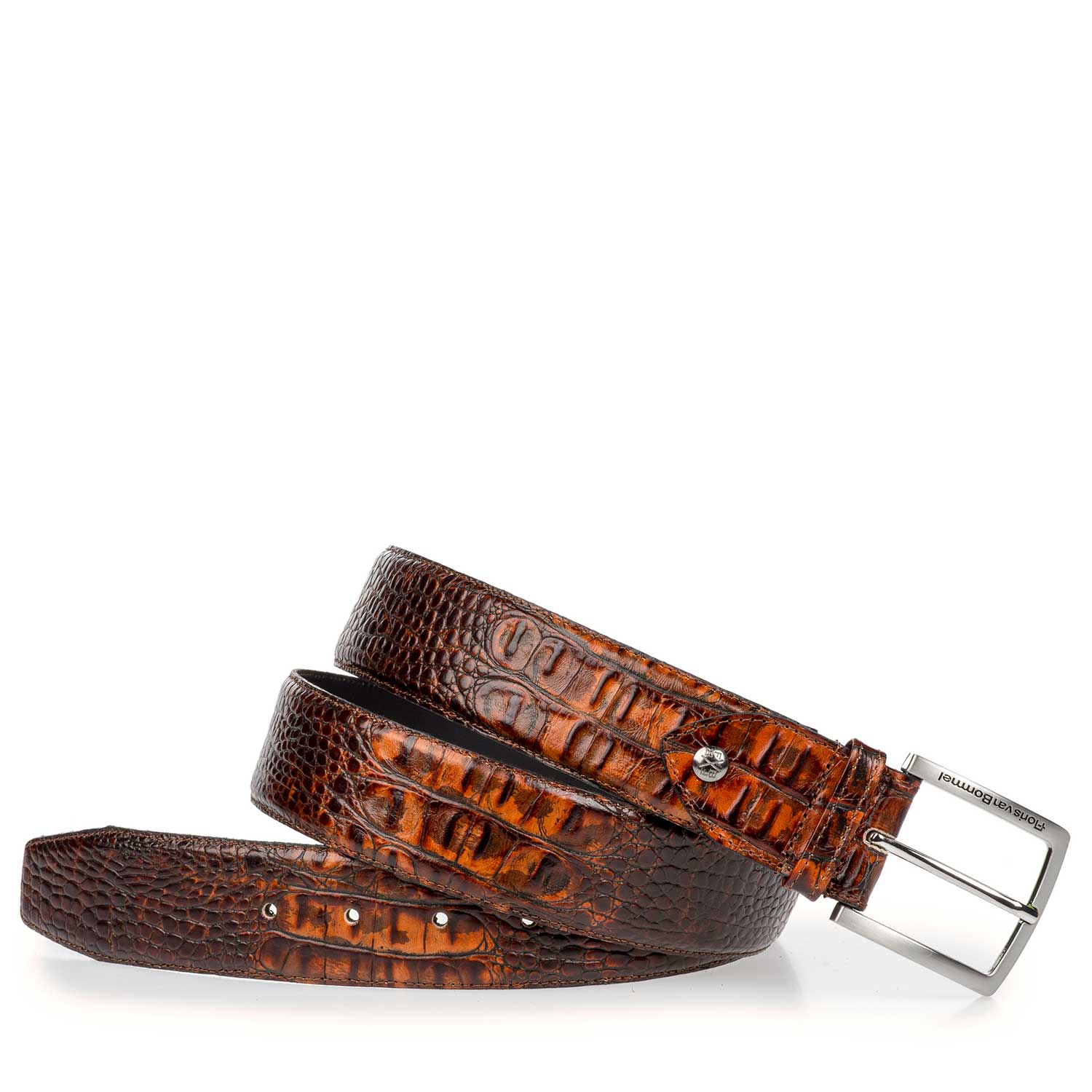 75189/25 - Brown leather belt with croco print