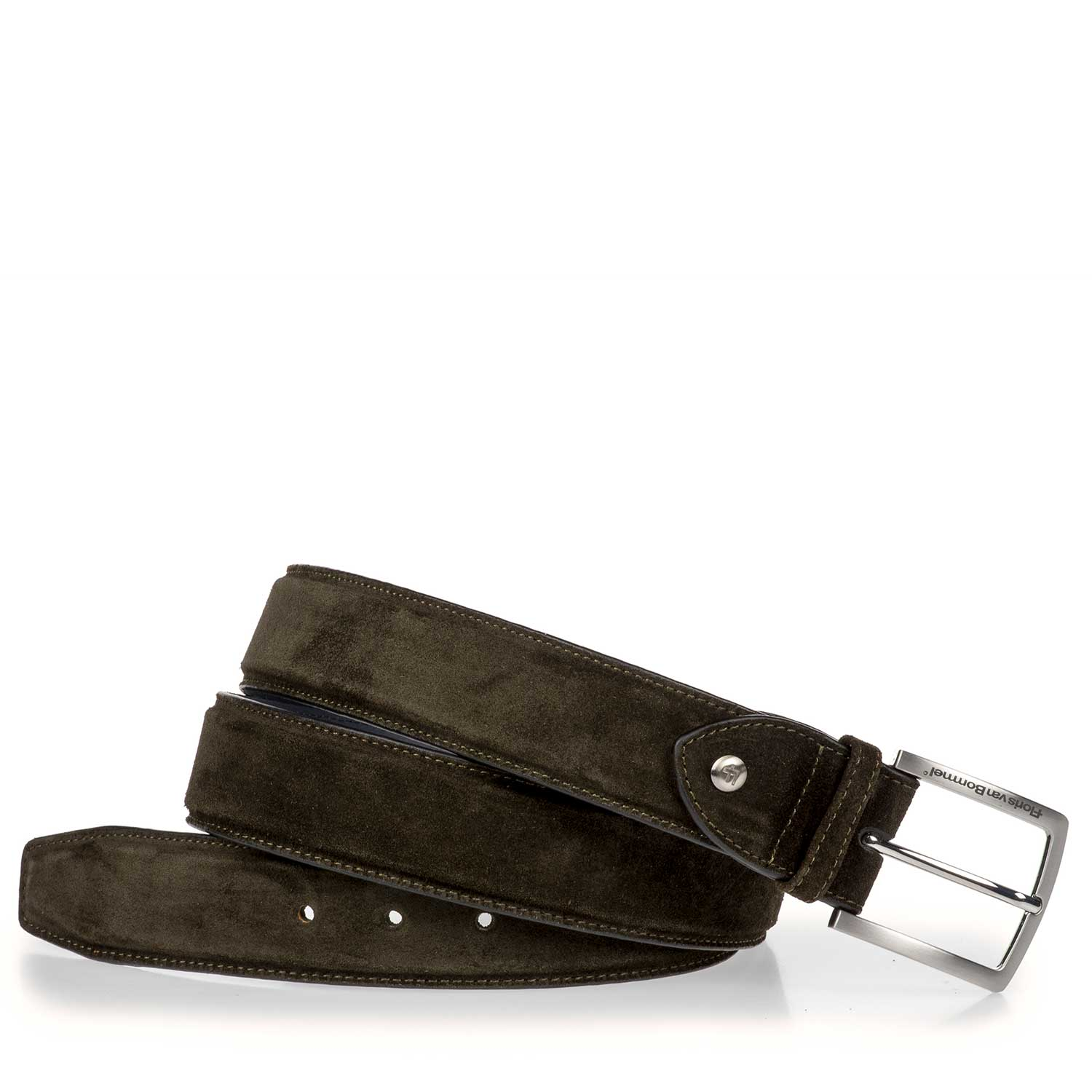75189/11 - Olive green calf suede leather belt