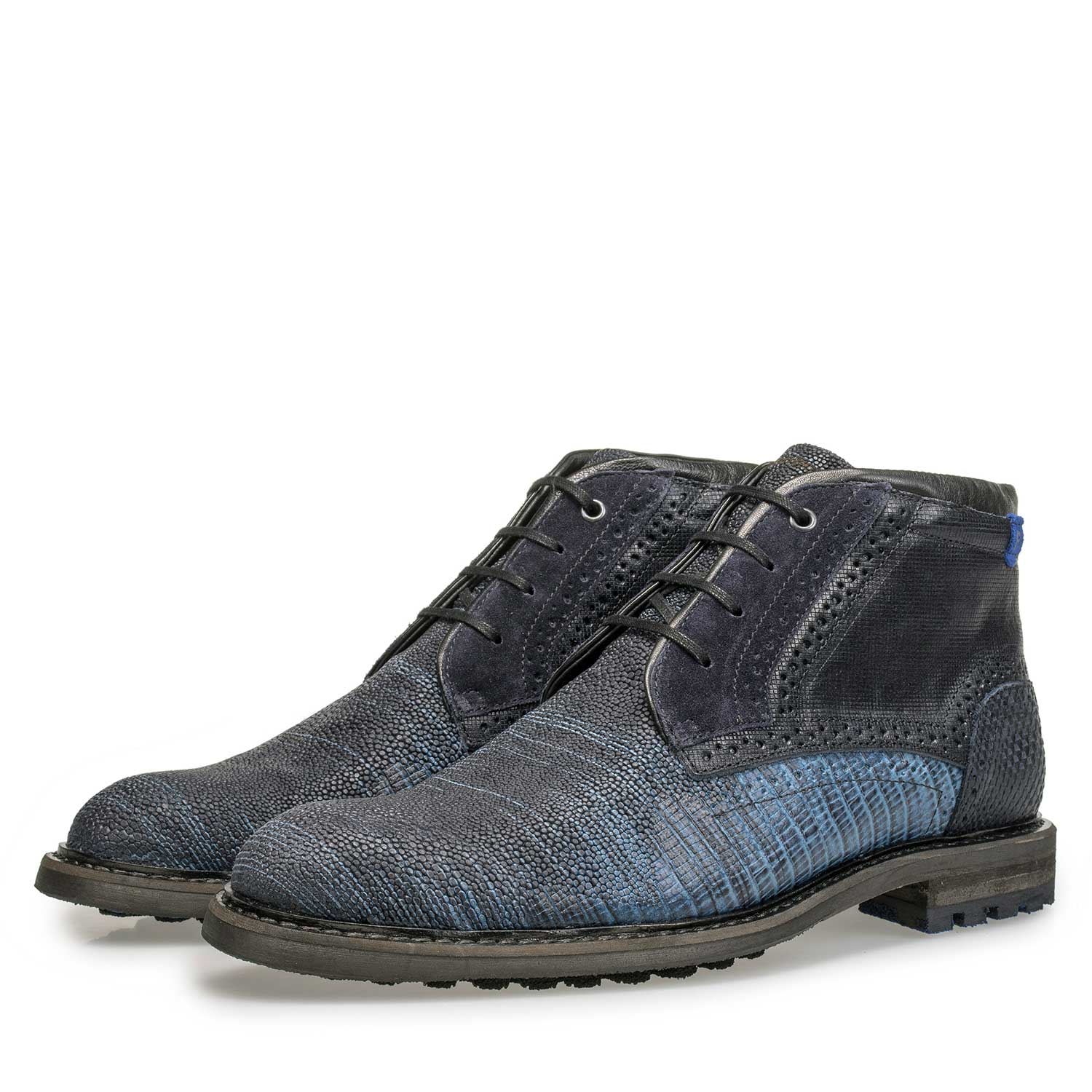 10978/10 - Blue leather lace boot with structural pattern