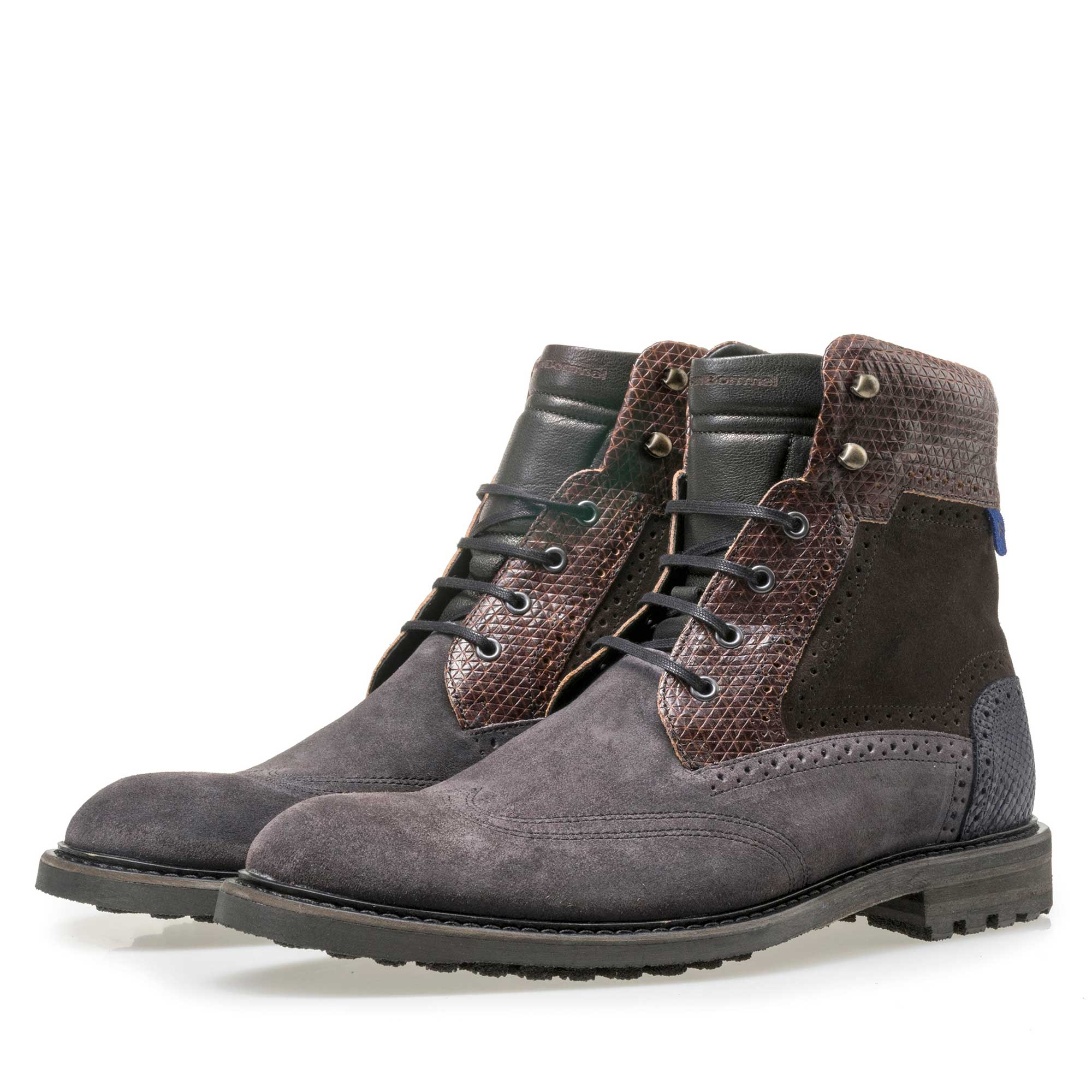 10979/05 - Floris van Bommel dark grey high suede leather lace boot