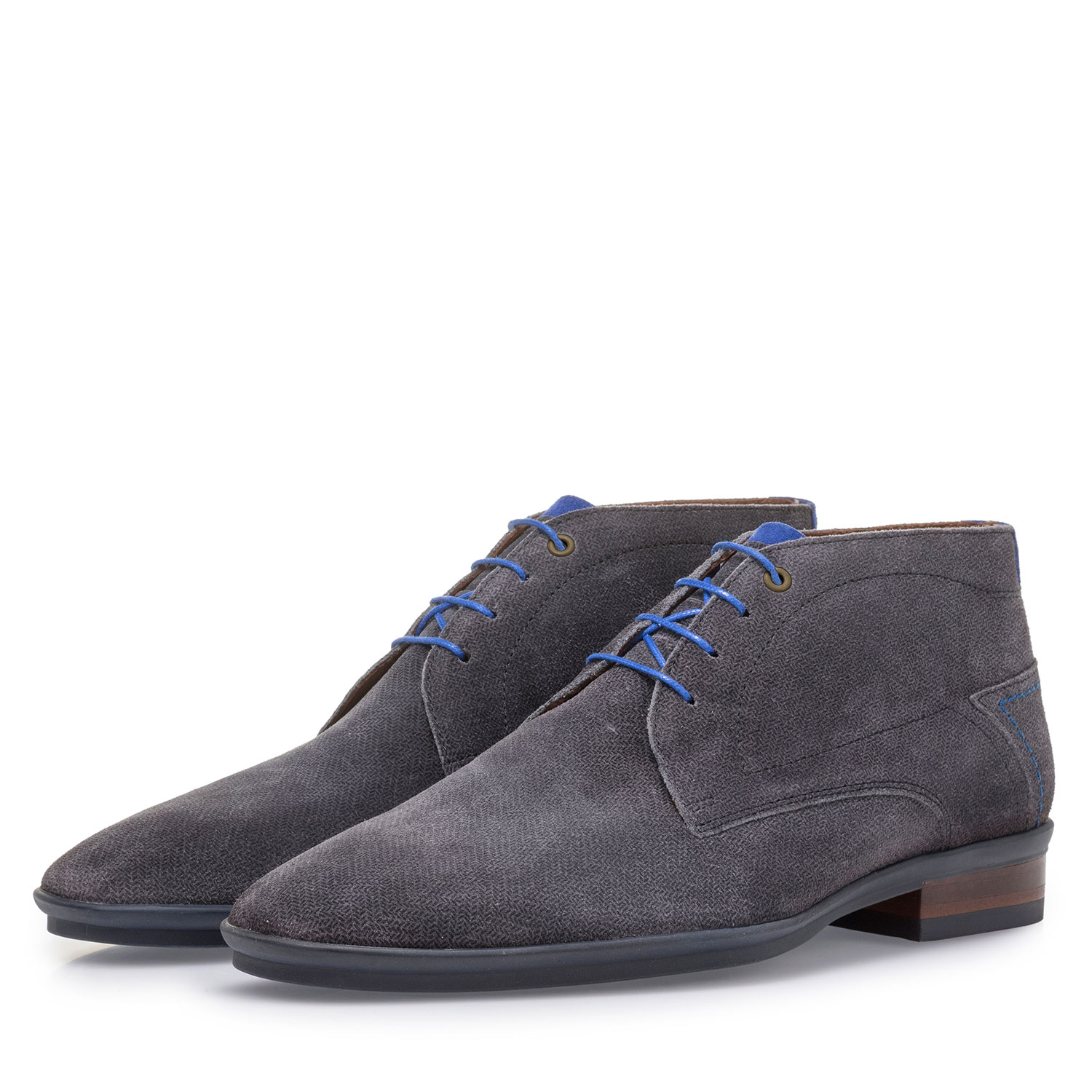 20440/02 - Dark grey suede leather lace boot with print