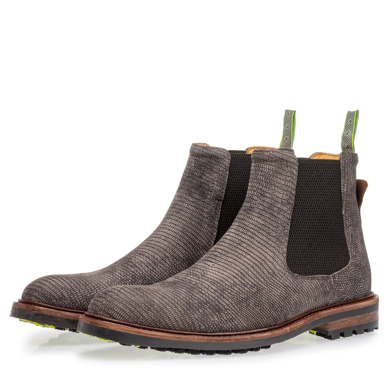 20093/09 - Chelsea boot with lizard print grey
