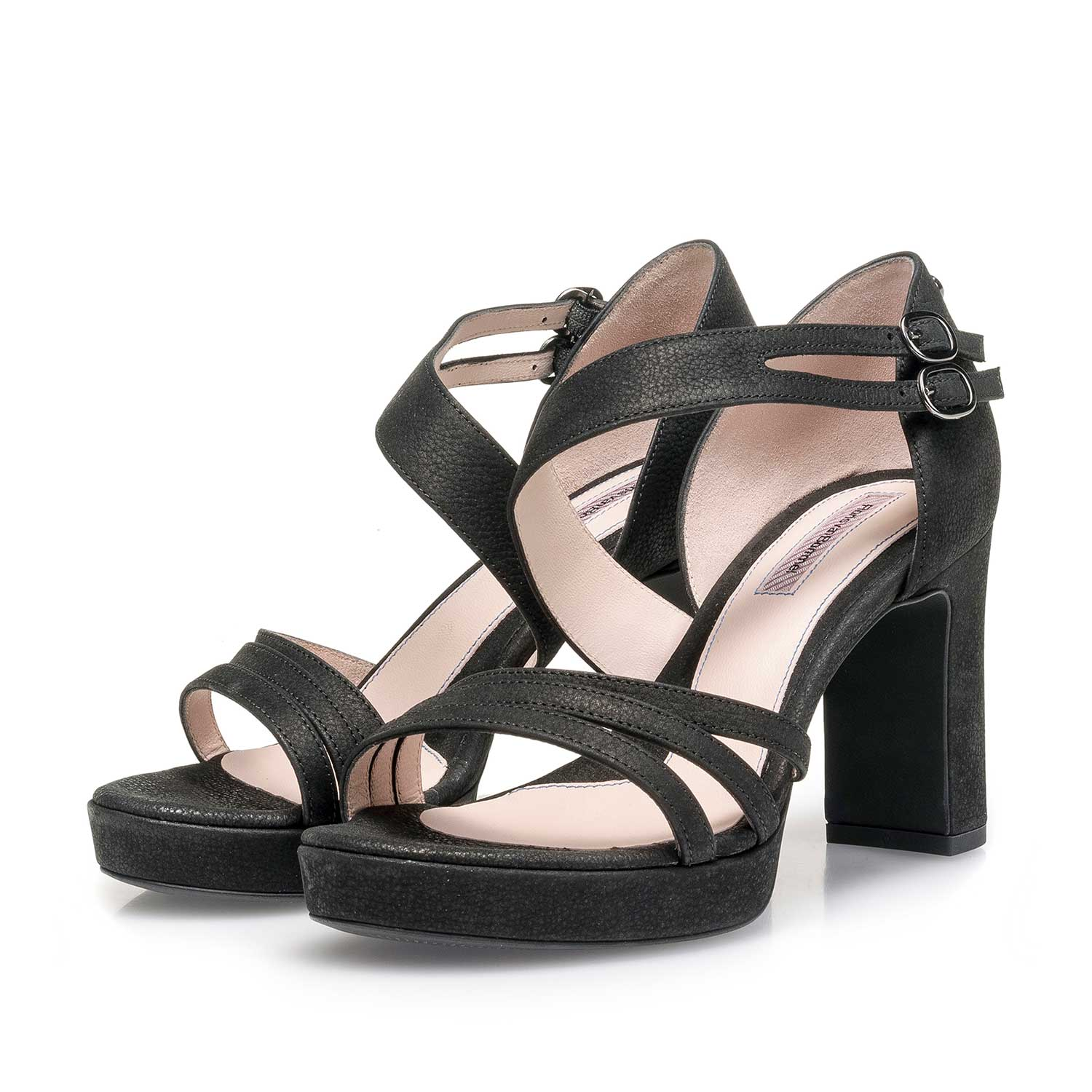 85902/02 - Black slightly structured high-heeled nubuck leather sandal