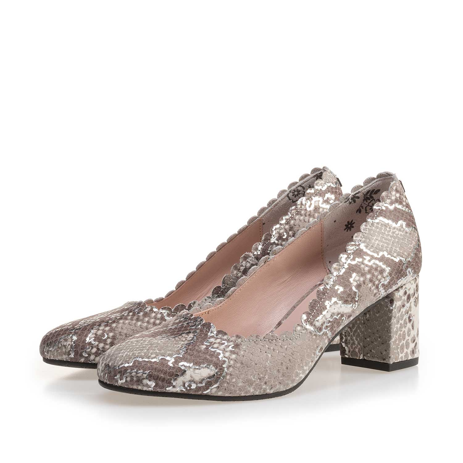 85226/03 - Taupe-coloured leather pumps with snake print
