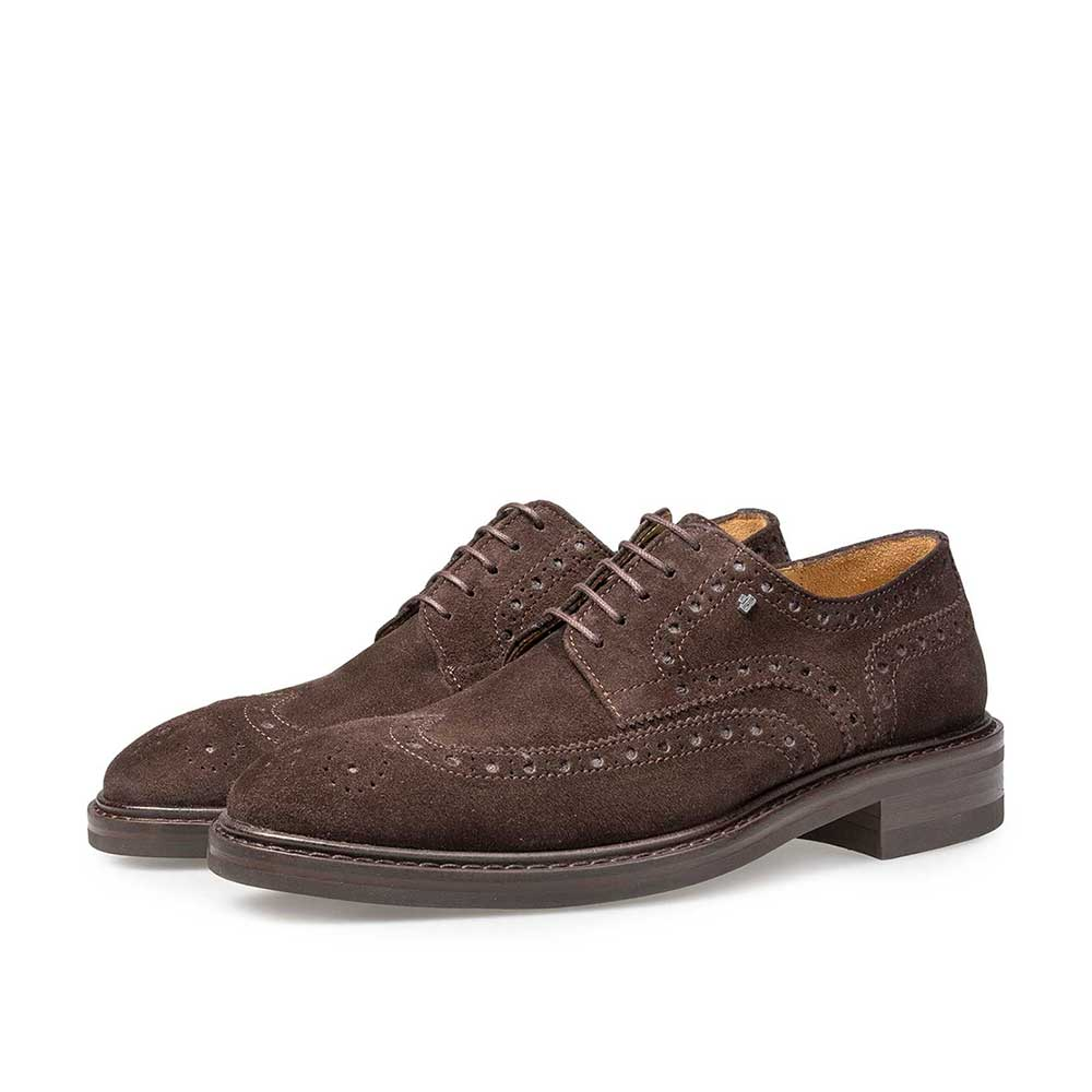 17093/00 - Brown suede leather brogue lace shoe