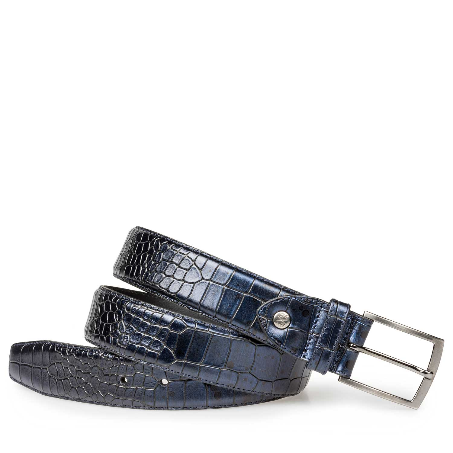 75190/11 - Blue calf's leather belt with croco print