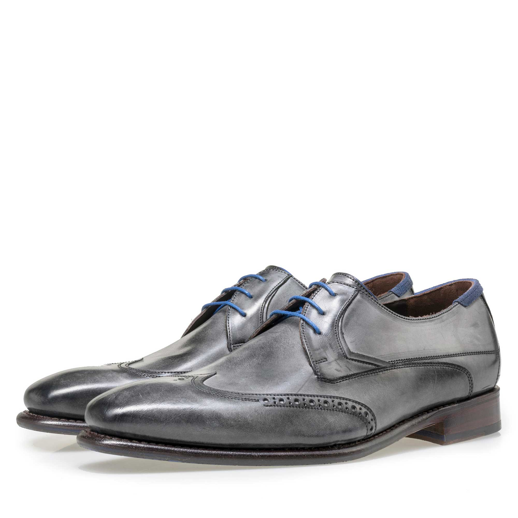 18039/00 - Floris van Bommel men's anthracite grey leather lace shoe