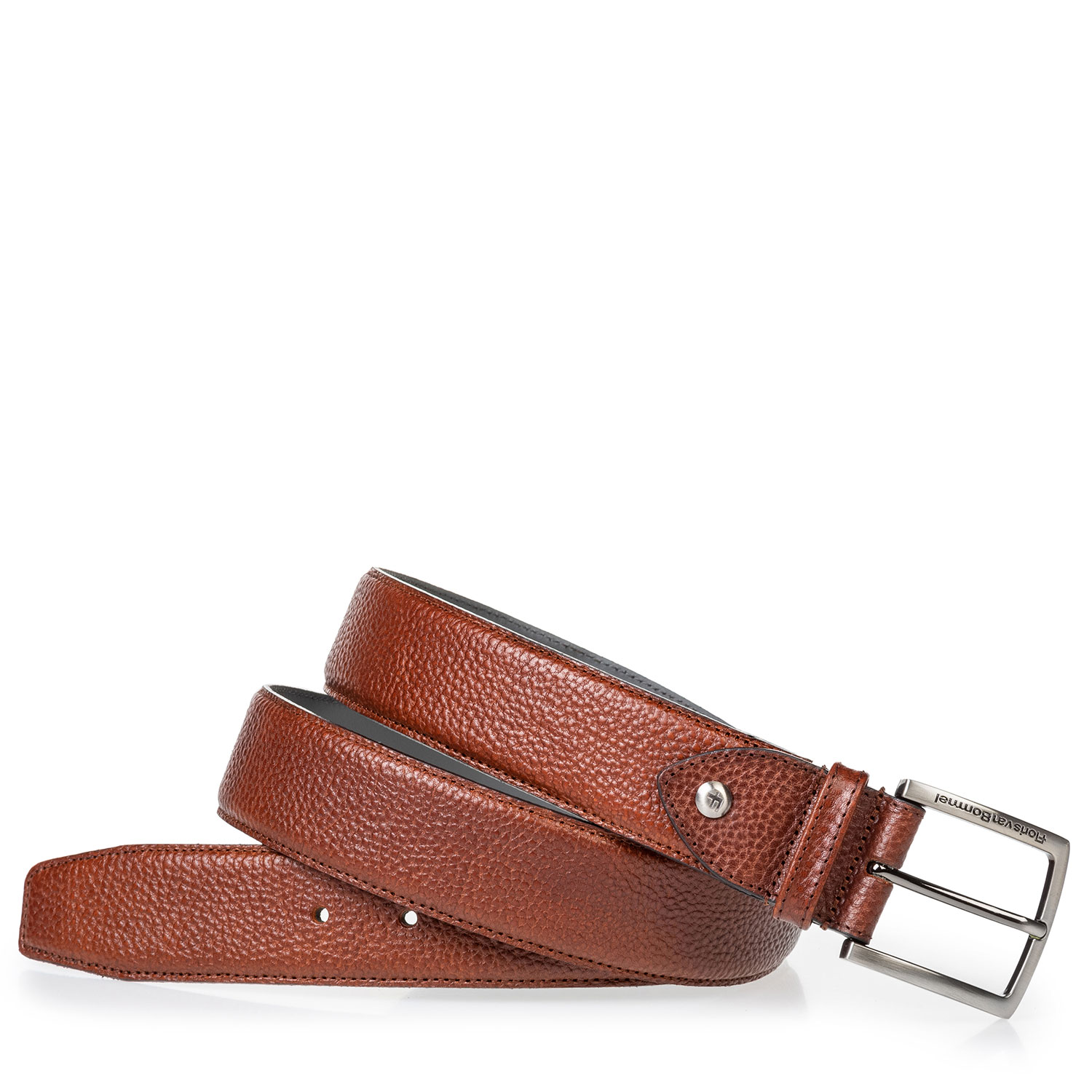 75202/63 - Leather belt cognac with structured pattern